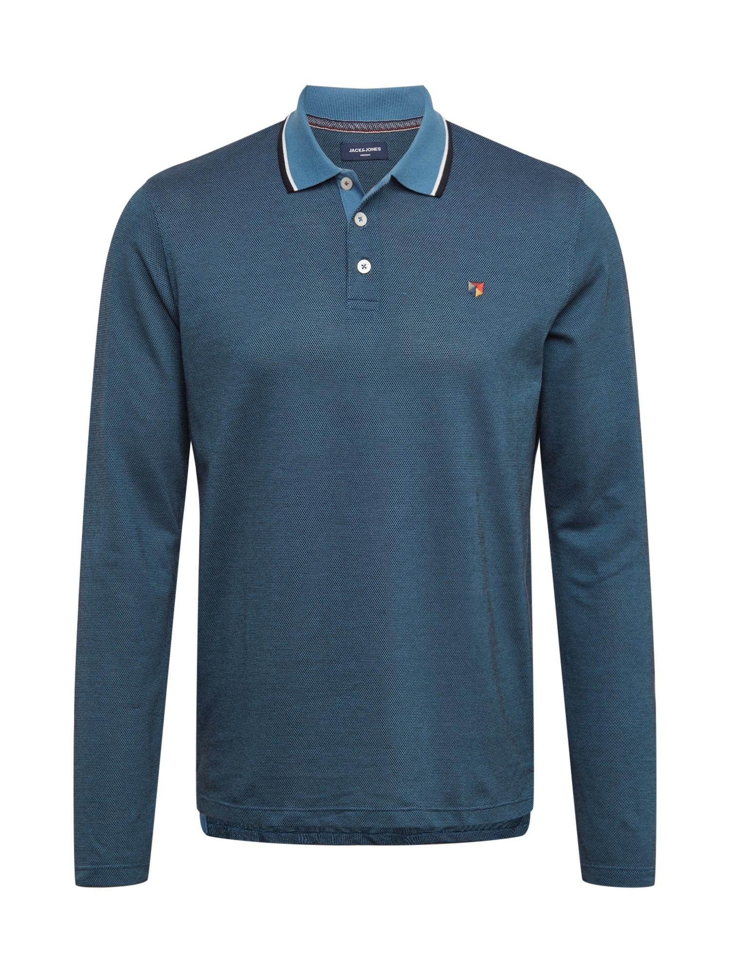JACK & JONES Marškinėliai benzino spalva / mėlyna