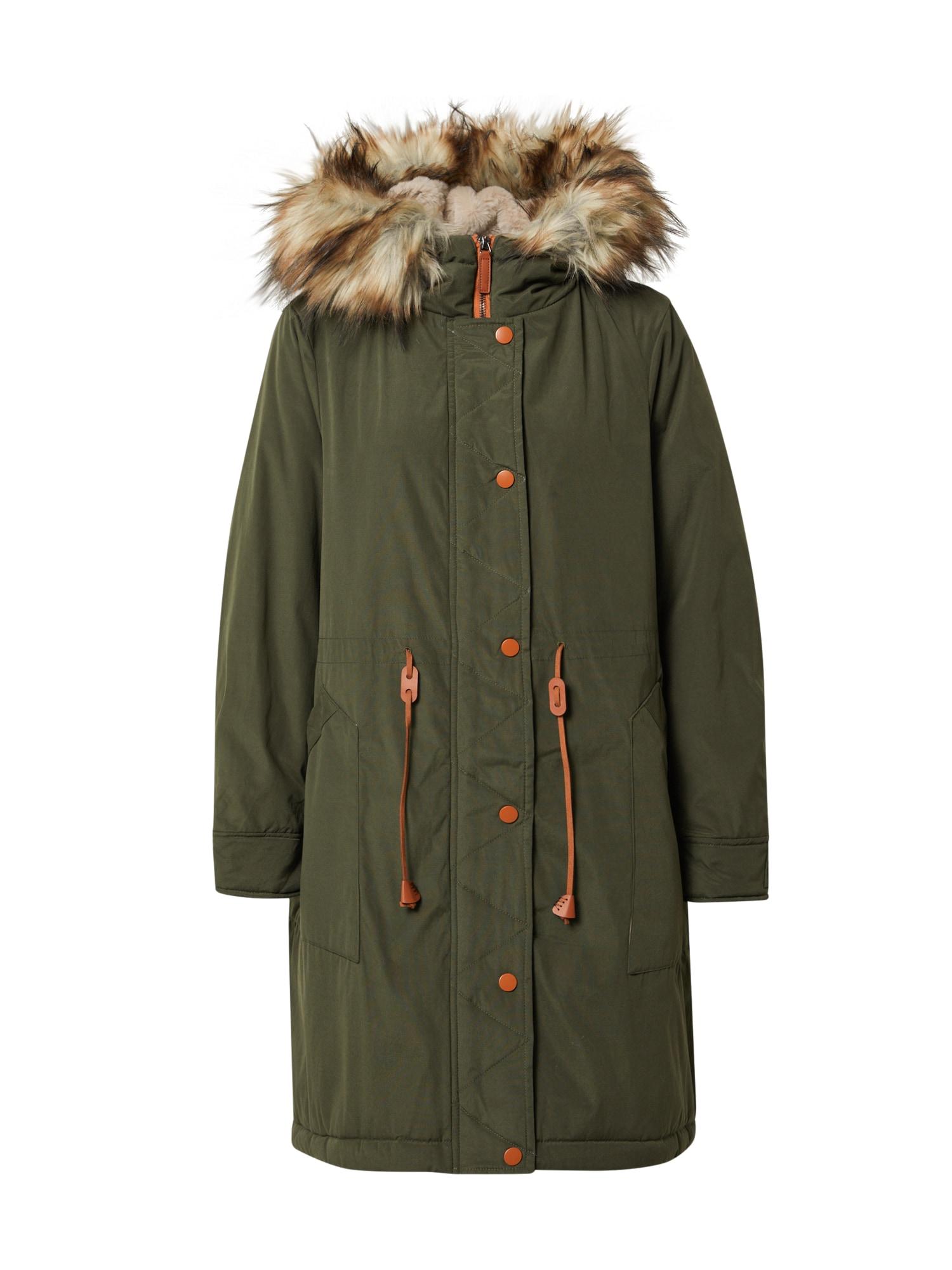 VILA Zimní kabát 'Flavia'  tmavě zelená / béžová