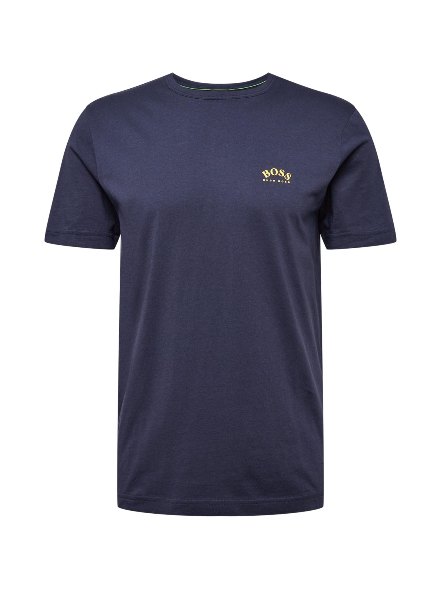 BOSS ATHLEISURE Marškinėliai tamsiai mėlyna / geltona