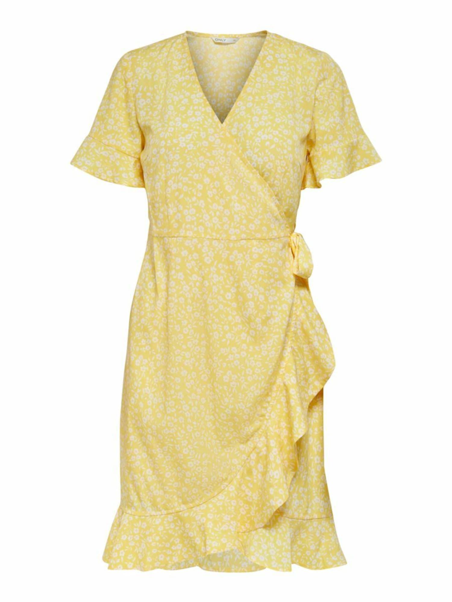ONLY Šaty 'Olivia'  žlutá / bílá
