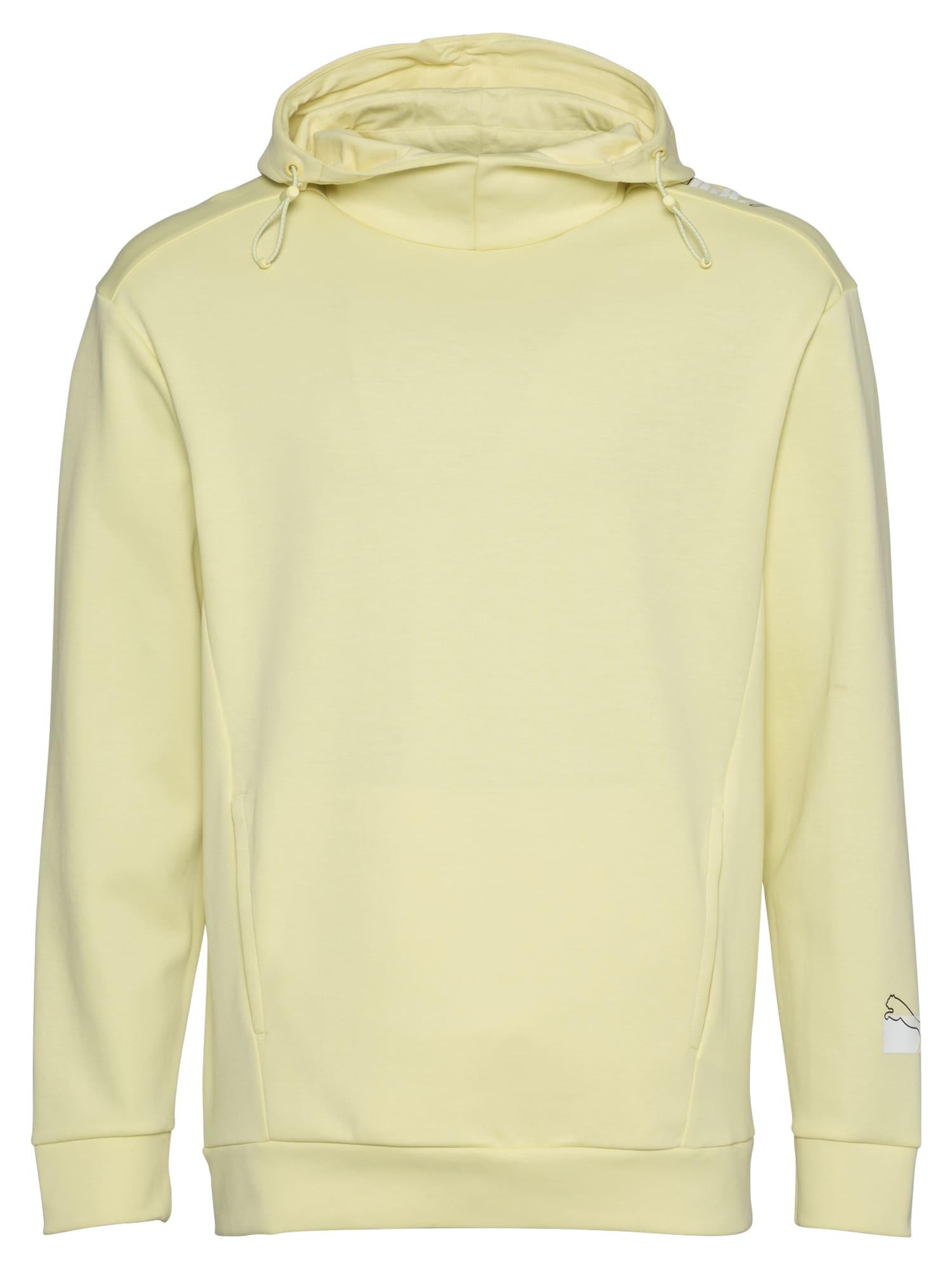 PUMA Sportinio tipo megztinis pastelinė geltona / juoda / balta