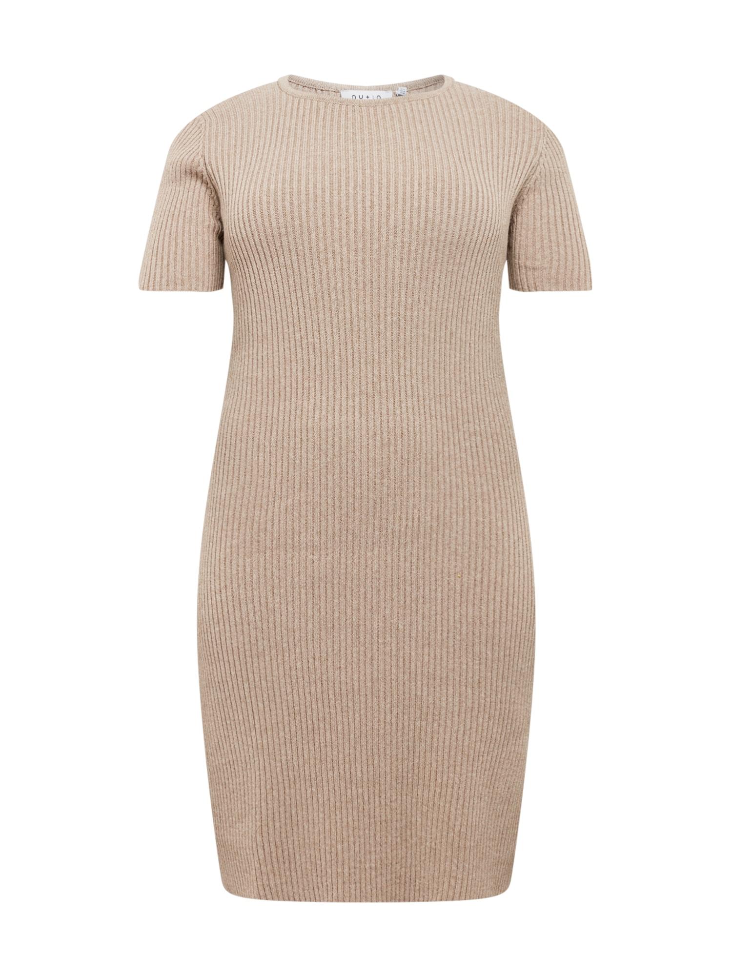 NU-IN Plus Megzta suknelė smėlio spalva