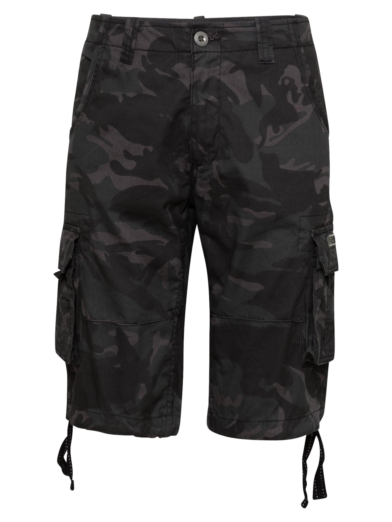 ALPHA INDUSTRIES Laisvo stiliaus kelnės juoda / įdegio spalva / antracito spalva