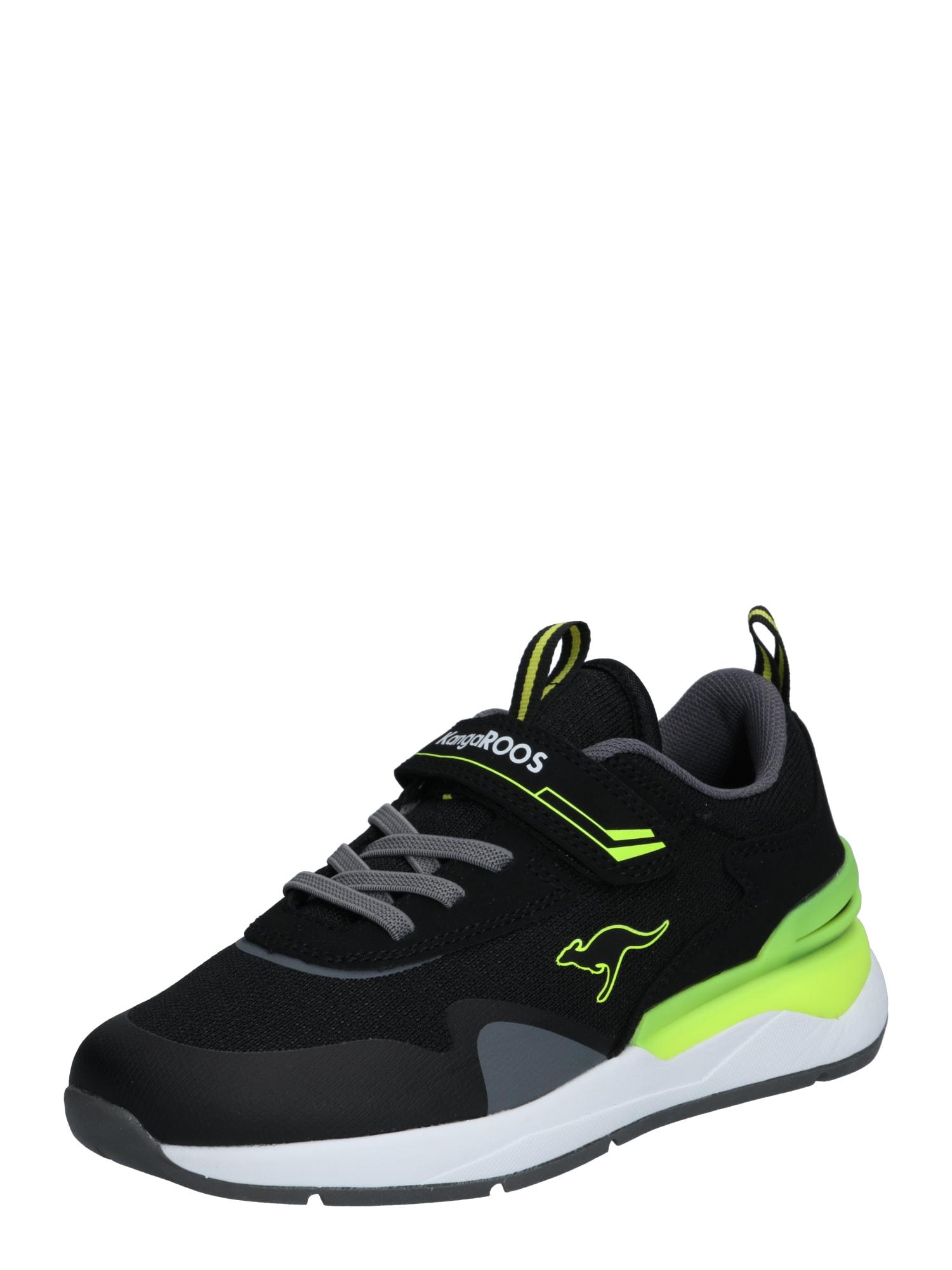 KangaROOS Sportbačiai juoda / neoninė žalia / pilka