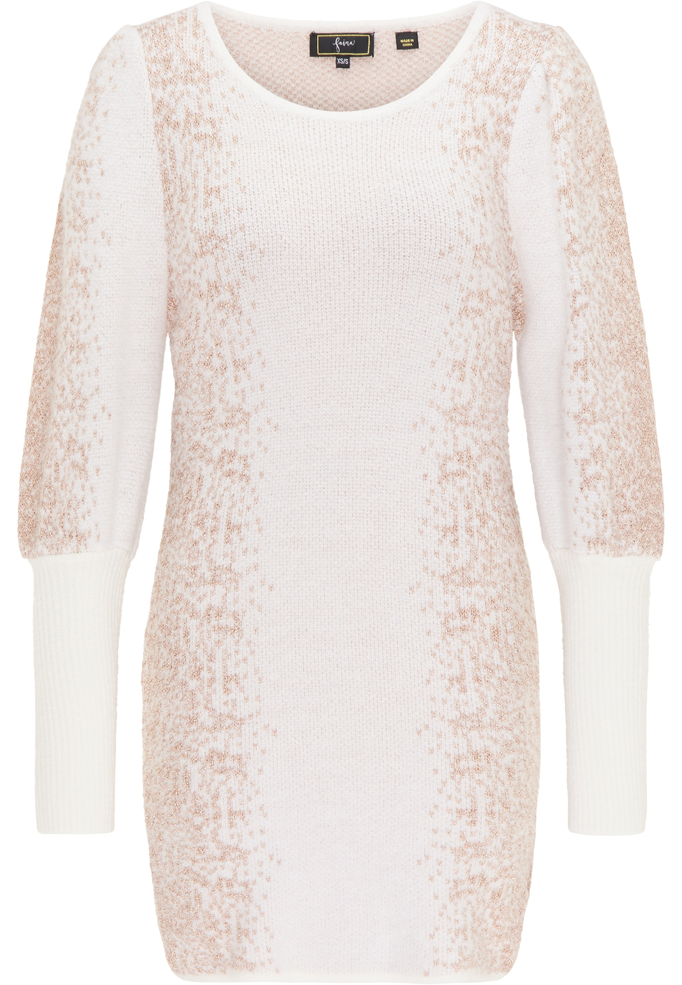 faina Megzta suknelė balta / smėlio