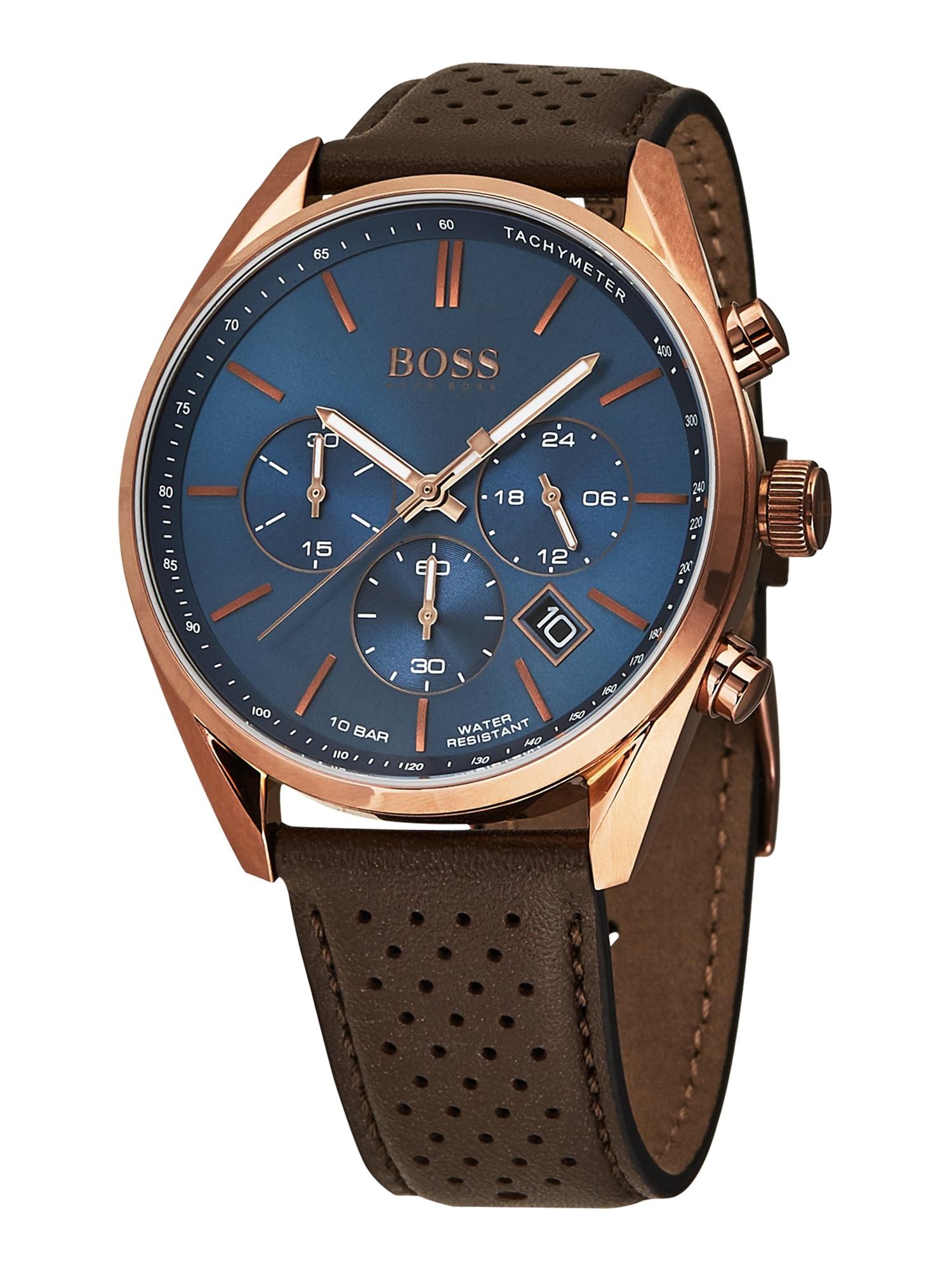 BOSS Analoginis (įprasto dizaino) laikrodis 'CHAMPION' tamsiai ruda / rožinio aukso spalva / tamsiai mėlyna