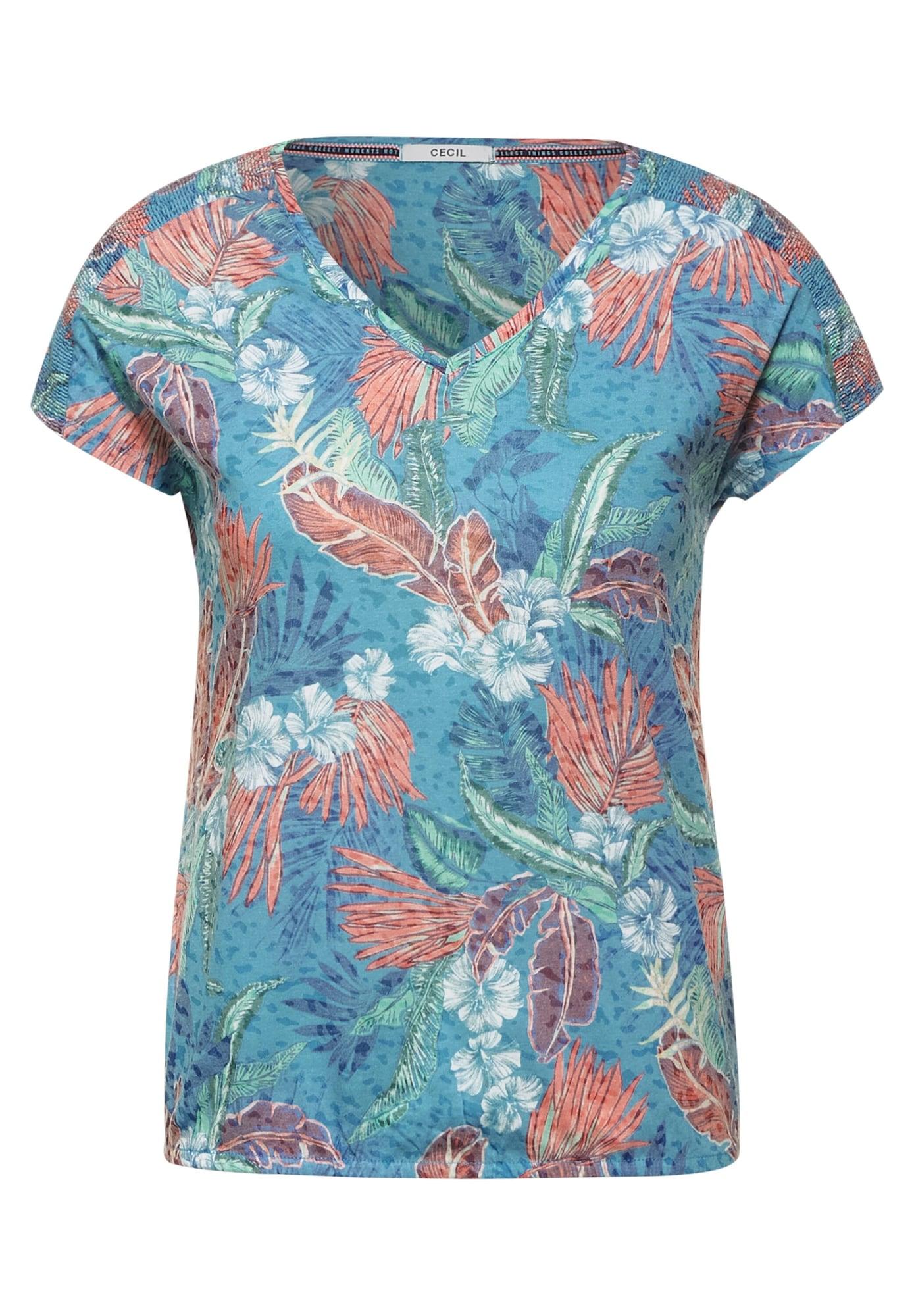 CECIL Marškinėliai šviesiai mėlyna / pastelinė raudona / balta / pastelinė žalia / vyno raudona spalva