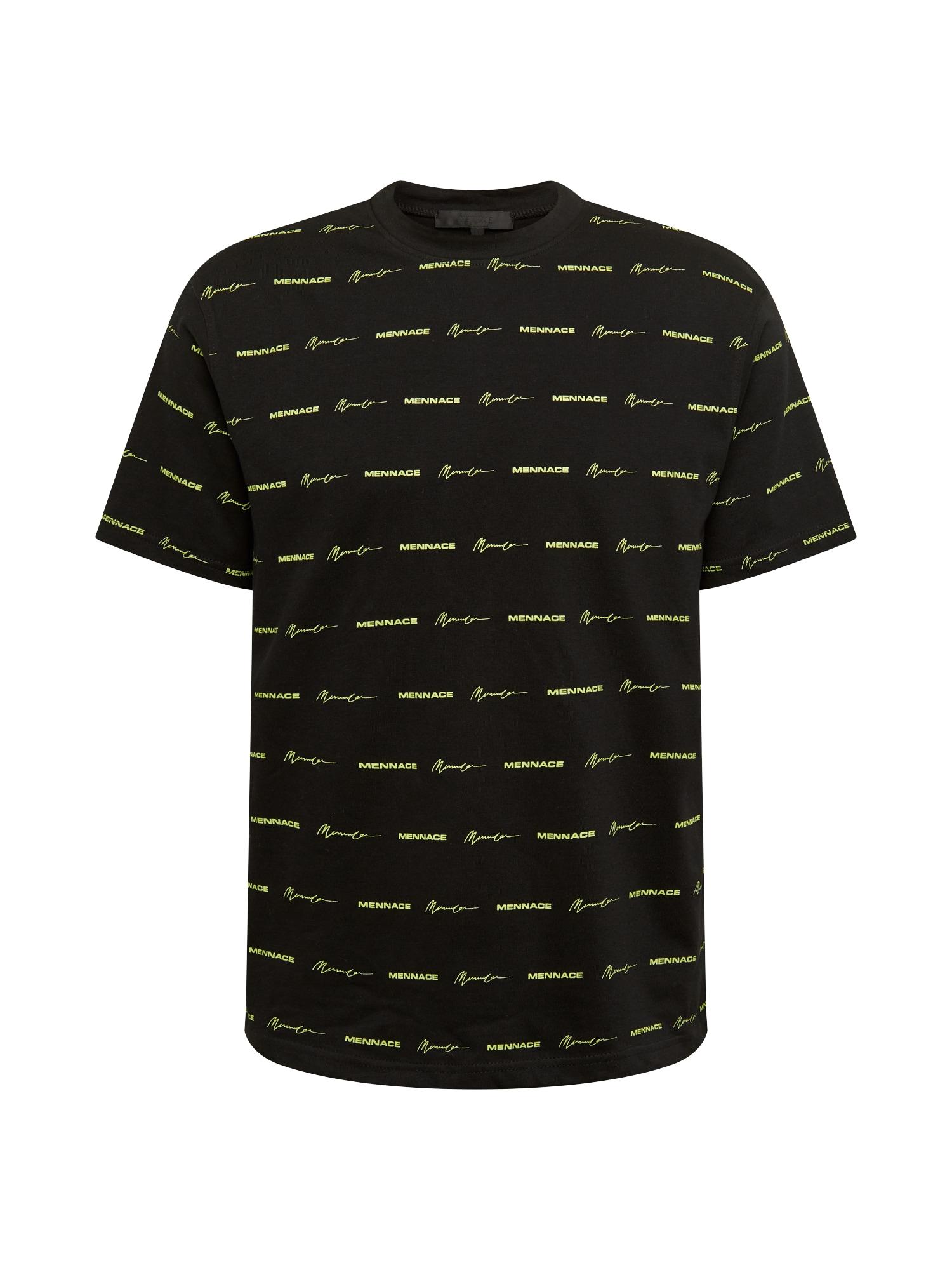 Mennace Marškinėliai juoda / neoninė geltona