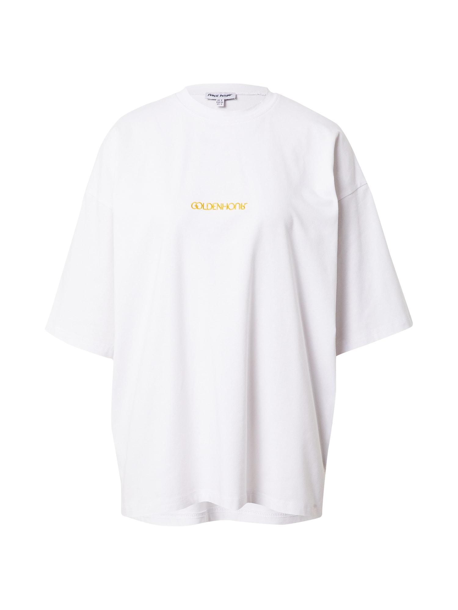 Public Desire Laisvi marškinėliai balta / aukso geltonumo spalva