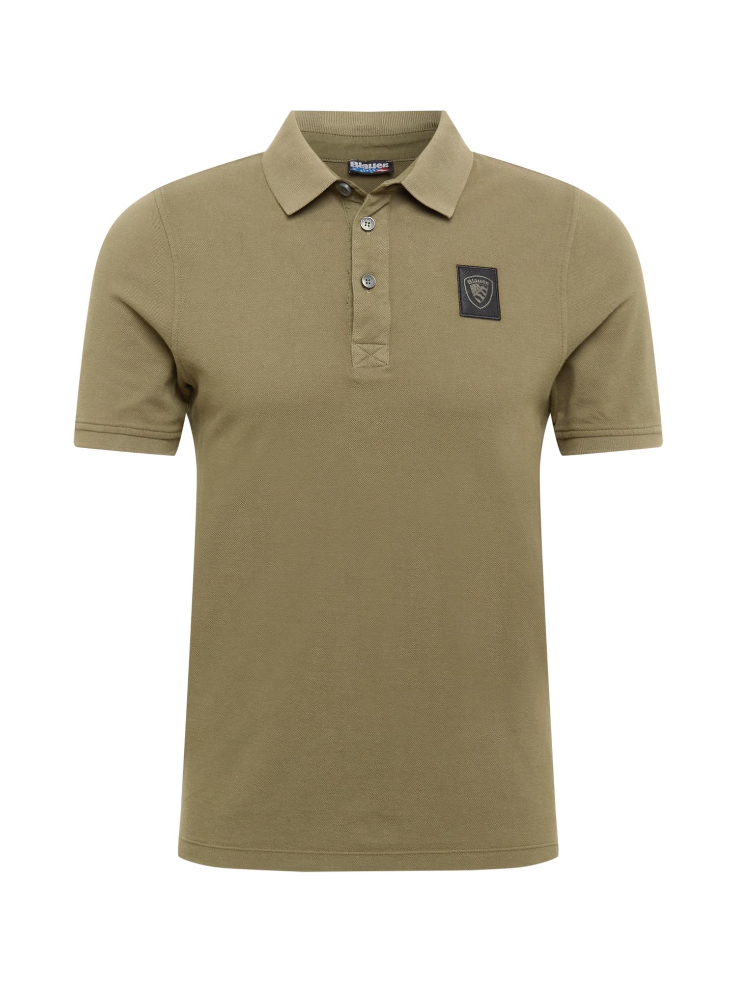 Blauer.USA Marškinėliai alyvuogių spalva / juoda