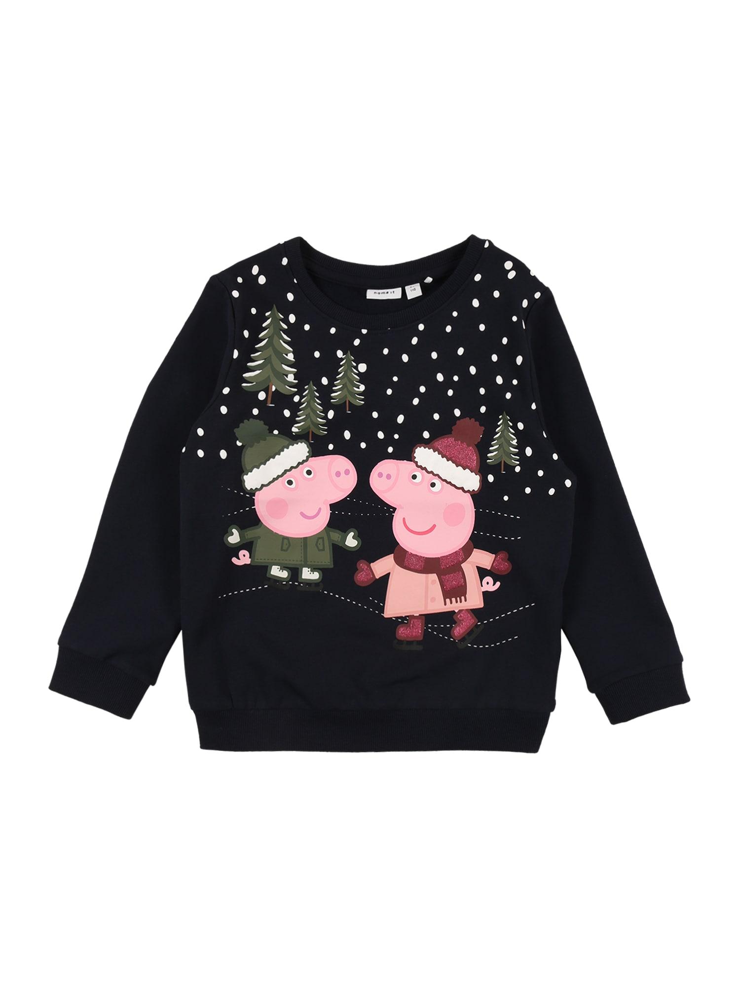 NAME IT Megztinis be užsegimo 'PEPPA PIG OLGA' tamsiai mėlyna / rožinė / alyvuogių spalva
