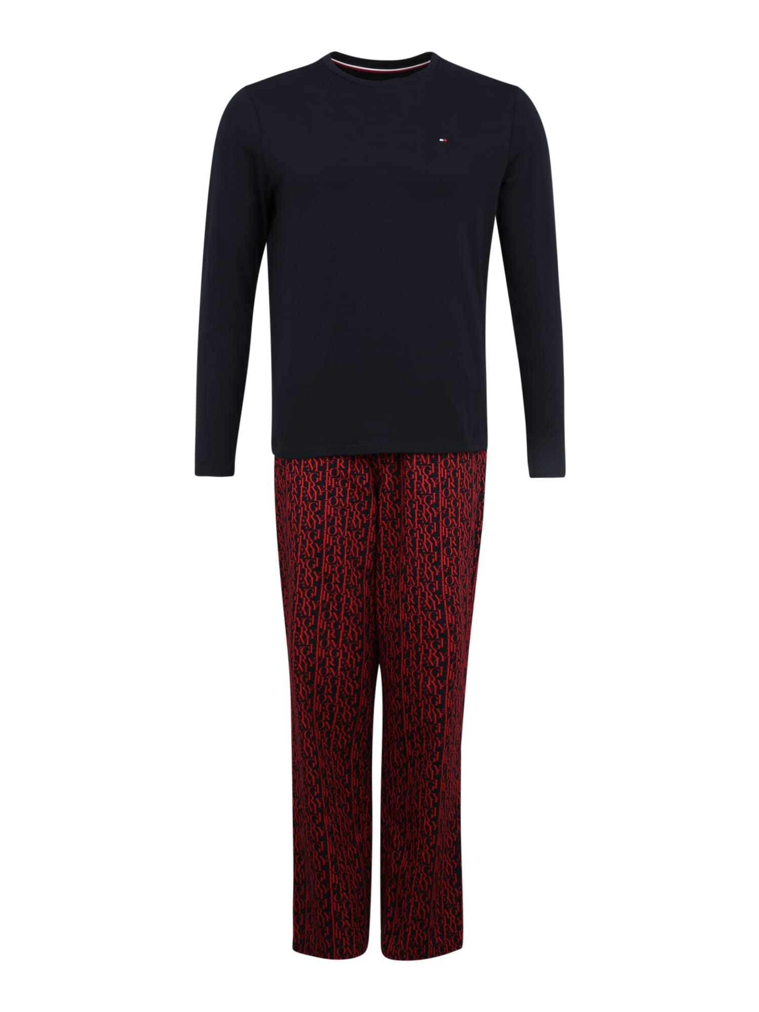 Tommy Hilfiger Underwear Ilga pižama raudona / tamsiai mėlyna jūros spalva