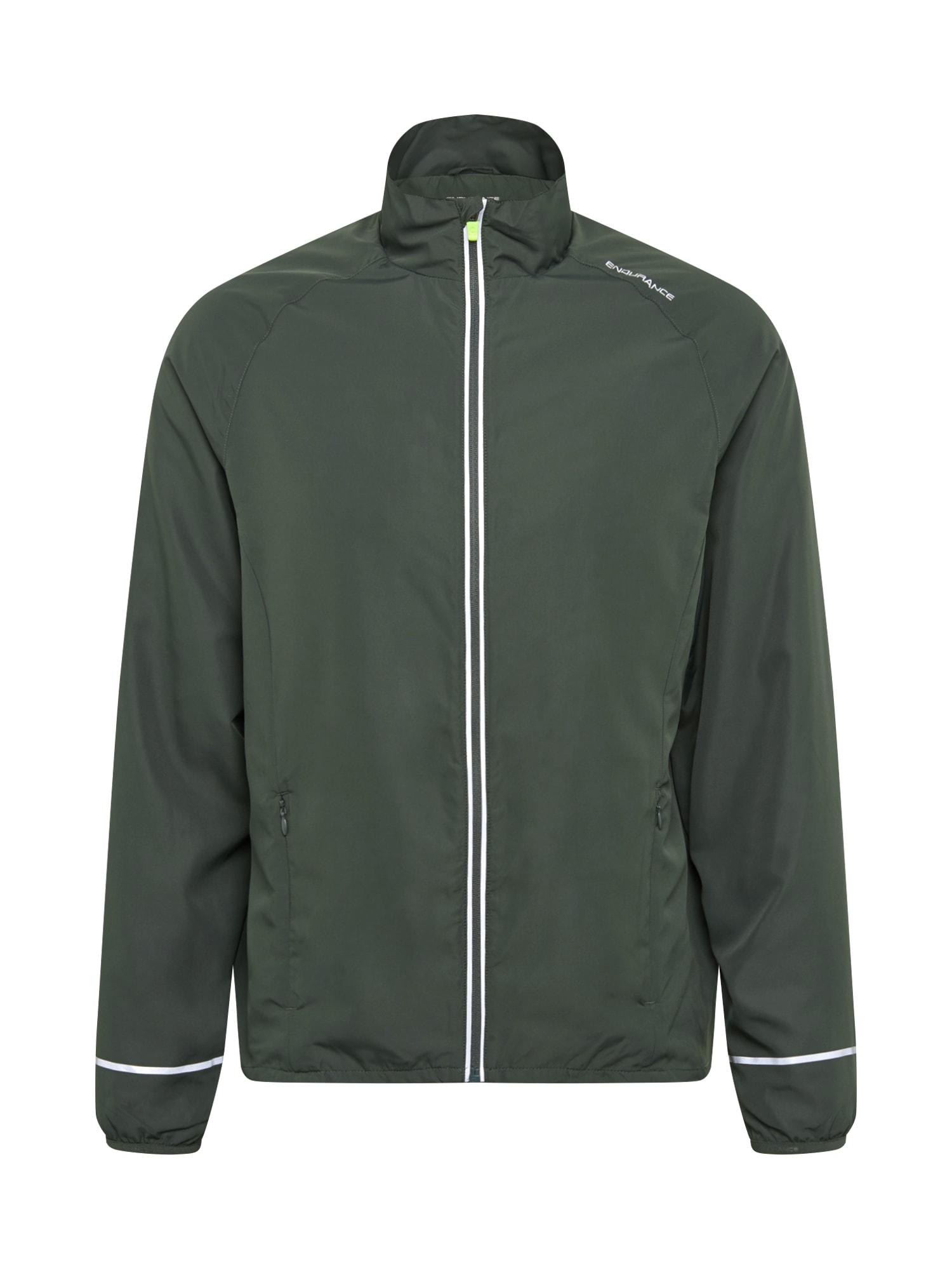 ENDURANCE Sportovní bunda  tmavě zelená / bílá