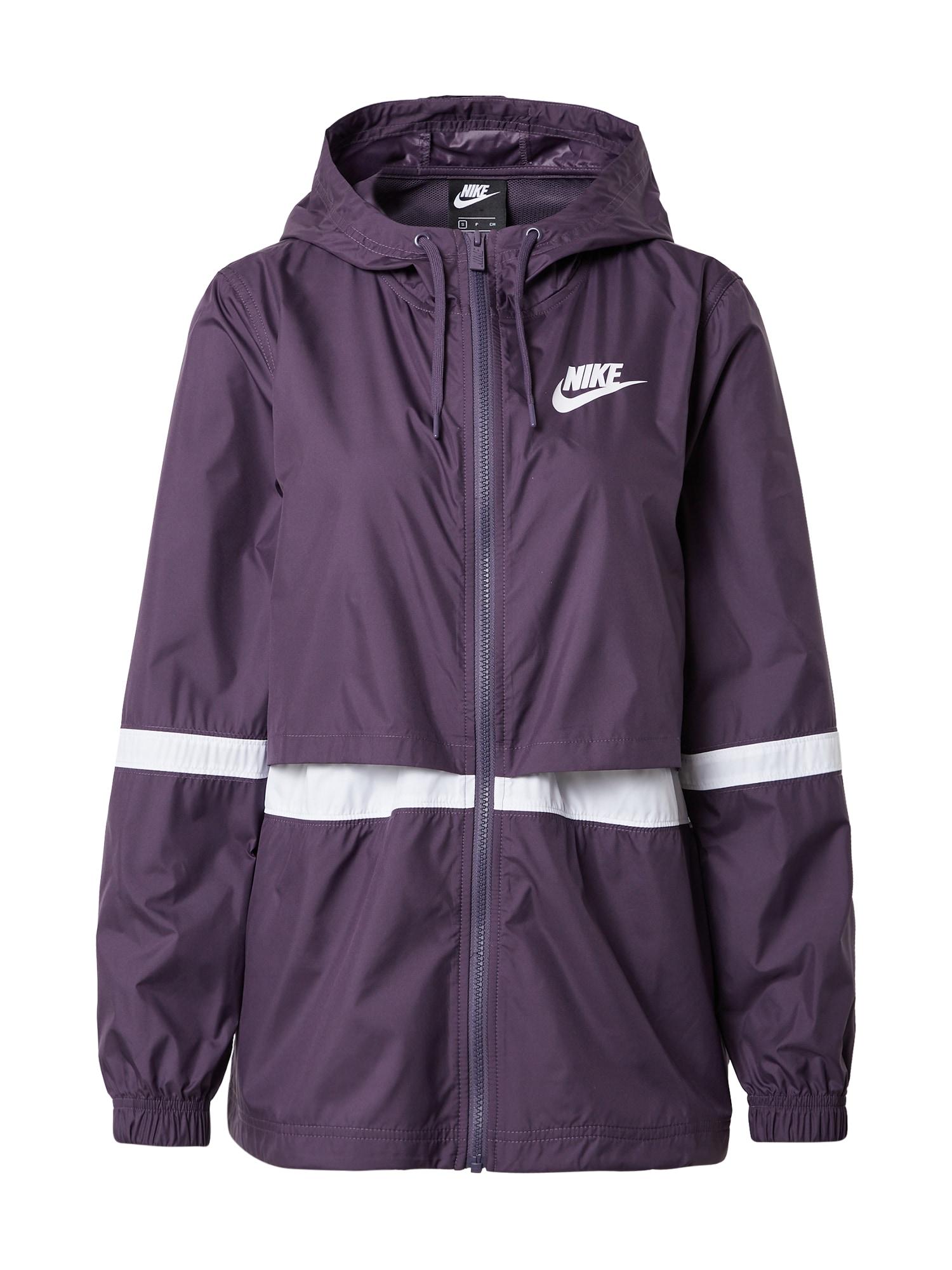 Nike Sportswear Demisezoninė striukė tamsiai violetinė / balta