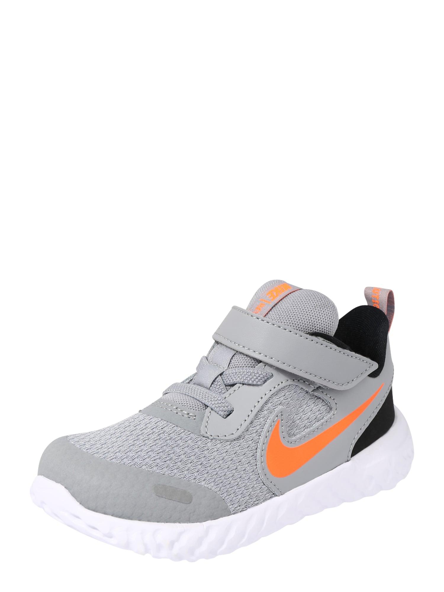 NIKE Sportovní boty 'Revolution 5'  šedá / černá / tmavě oranžová