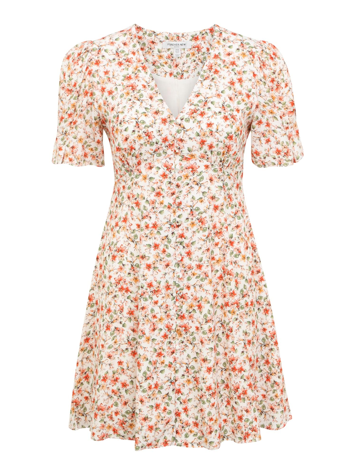 Forever New Petite Vasarinė suknelė balta / raudona / žalia