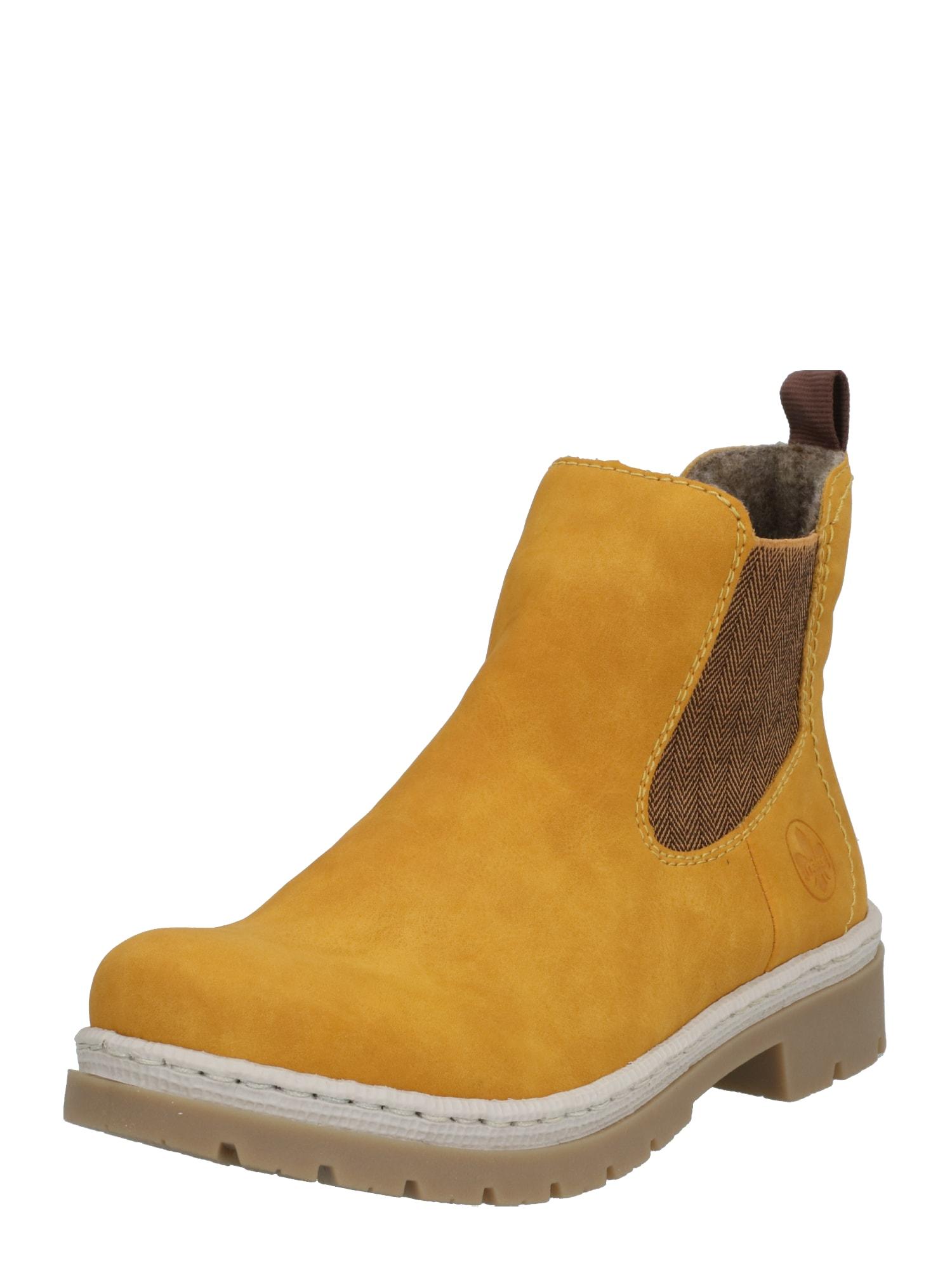 RIEKER Chelsea boty  žlutá / hnědá