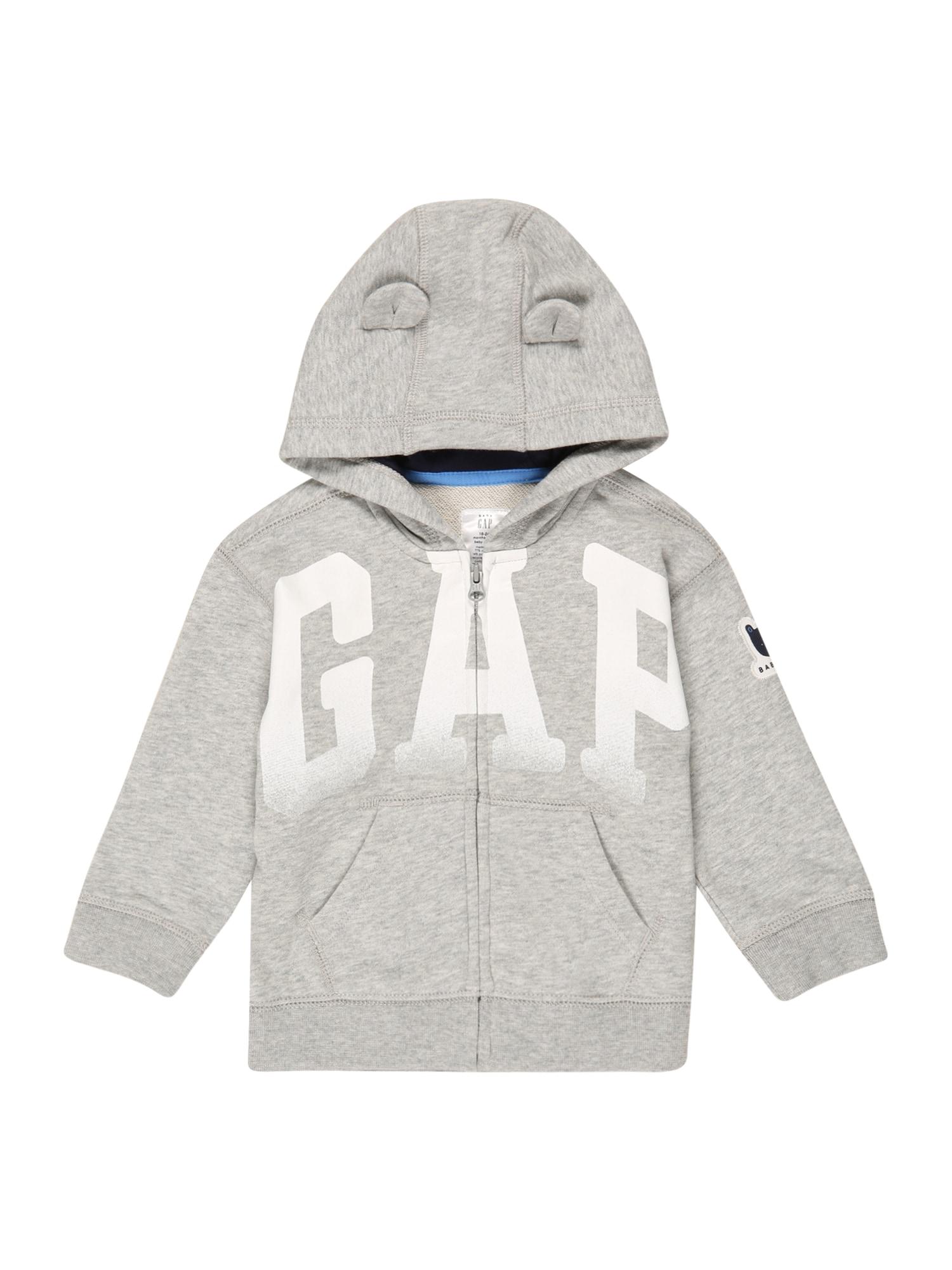 GAP Džemperis pilka / balta / tamsiai mėlyna