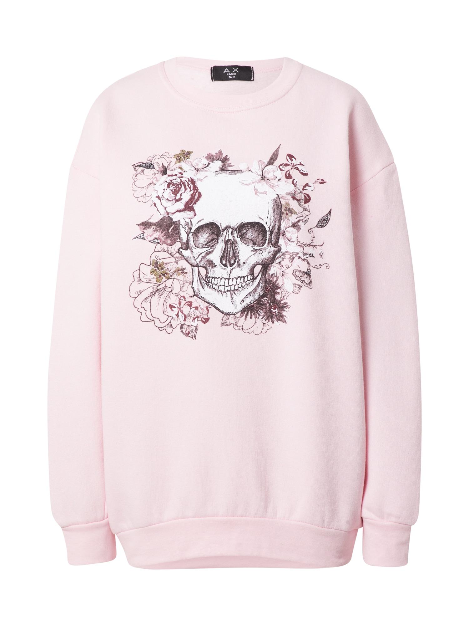 AX Paris Megztinis be užsegimo rožių spalva / balta / vyšninė spalva / rusvai žalia