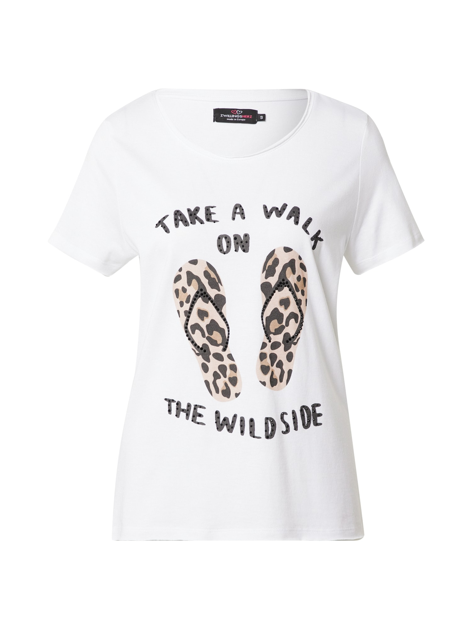 Zwillingsherz Marškinėliai balta / juoda / rožių spalva