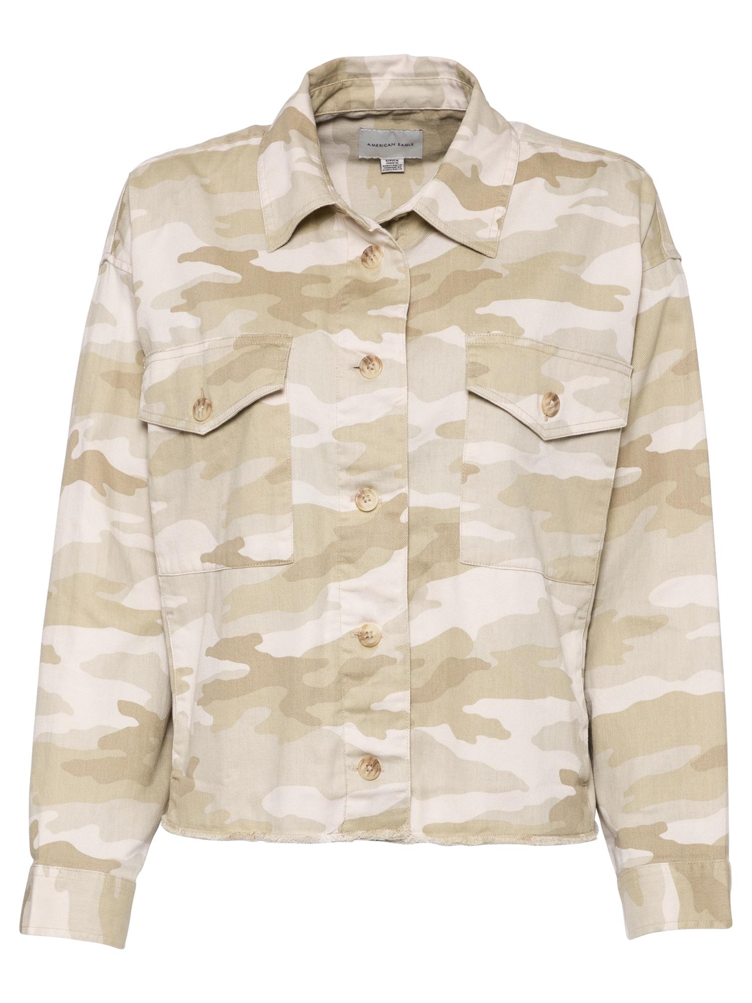 American Eagle Demisezoninė striukė šviesiai ruda / šviesiai pilka / balta