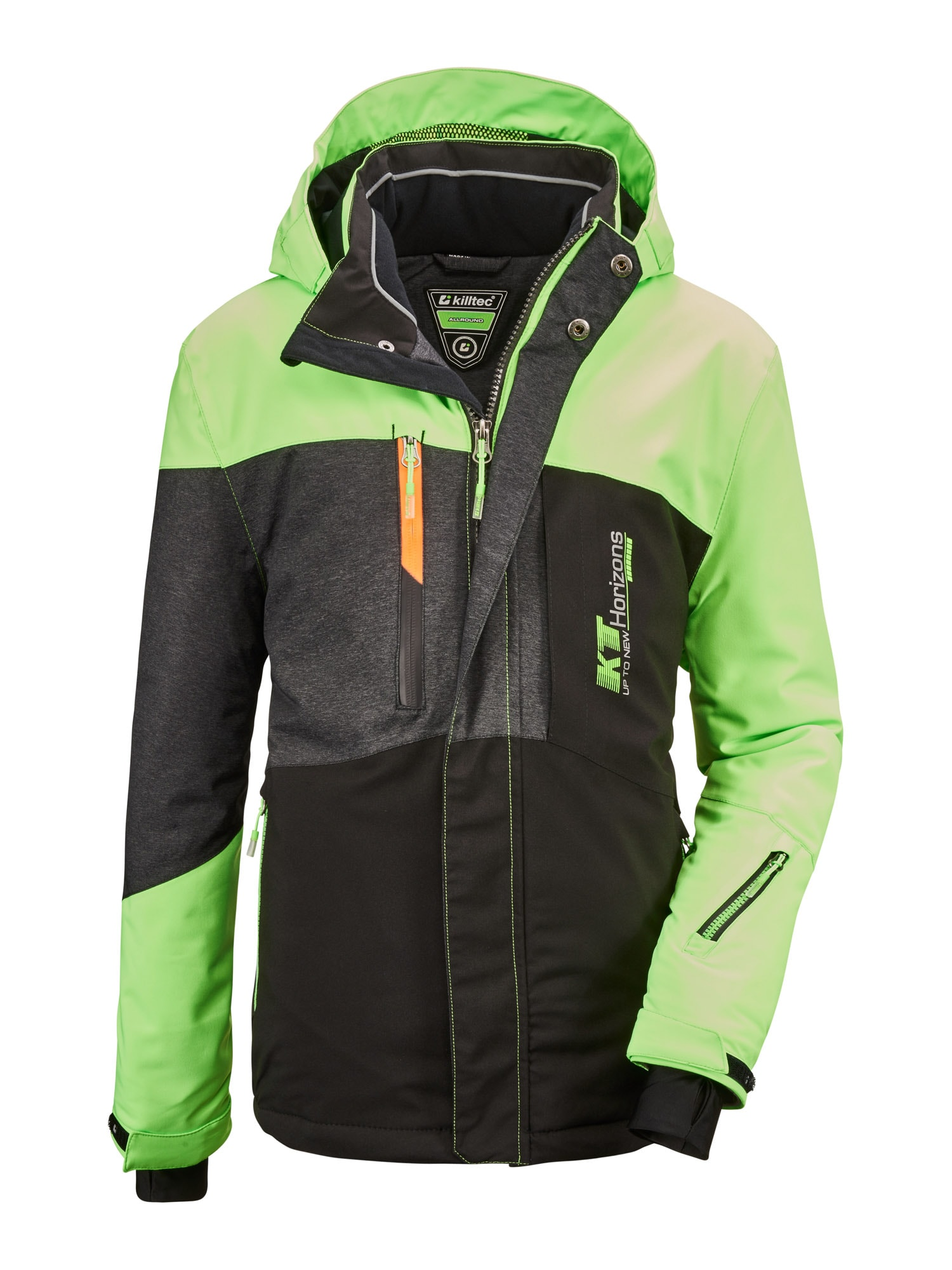 KILLTEC Sportovní bunda 'Glenshee'  svítivě zelená / černá / tmavě šedá