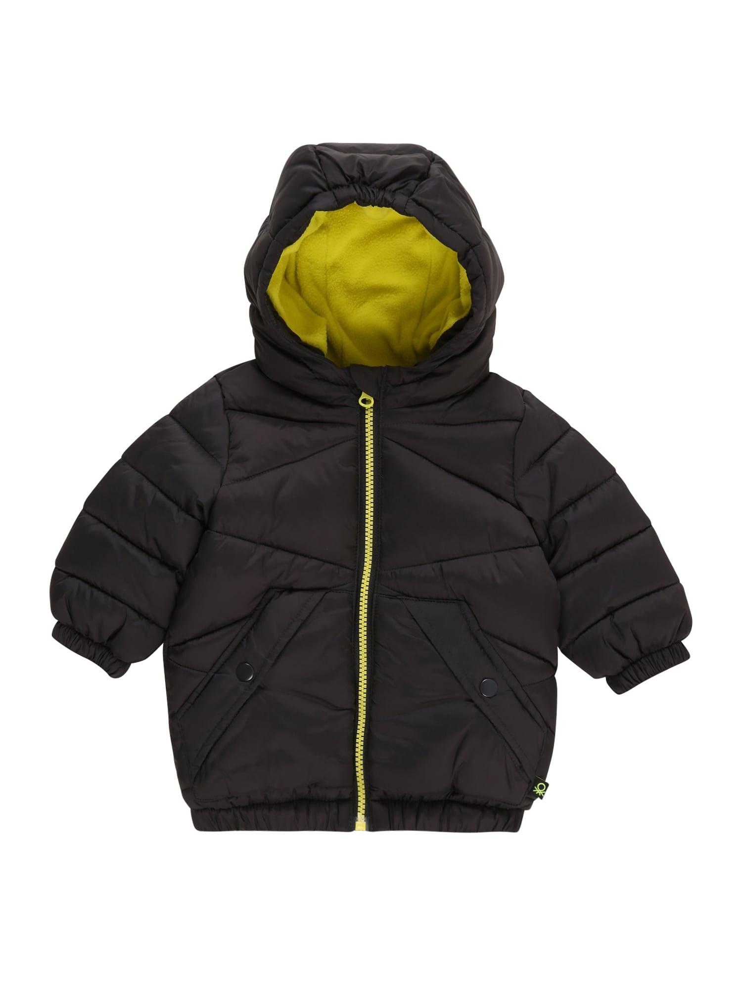 UNITED COLORS OF BENETTON Žieminė striukė juoda / geltona