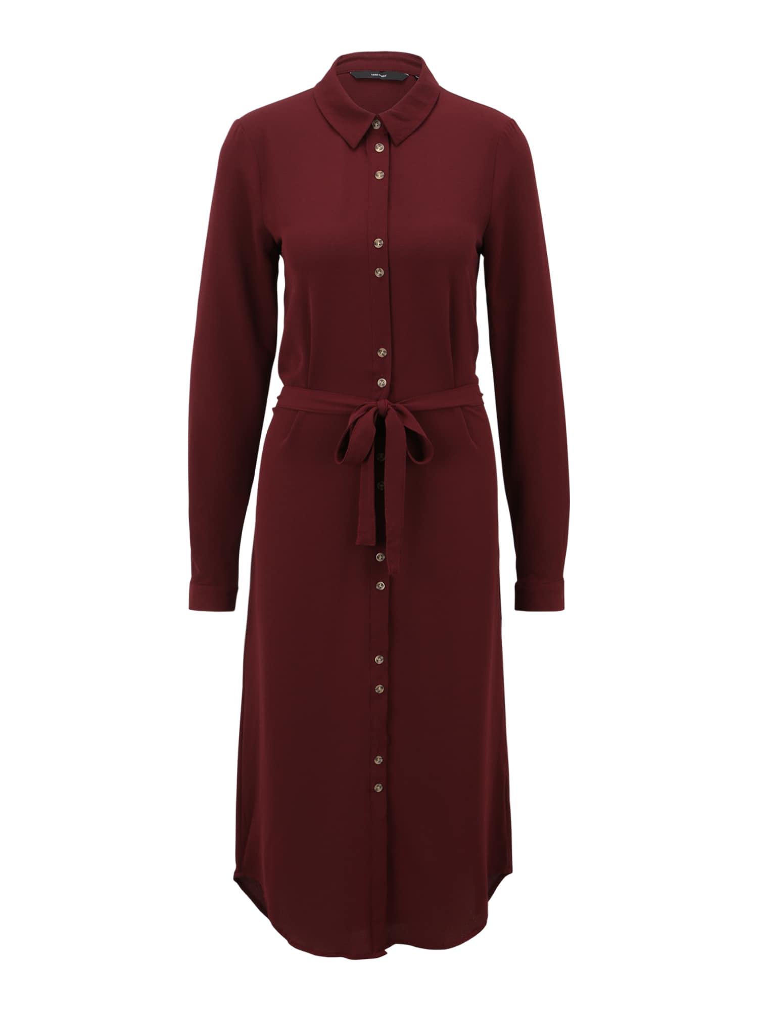 Vero Moda Tall Košilové šaty 'SASHA'  tmavě červená