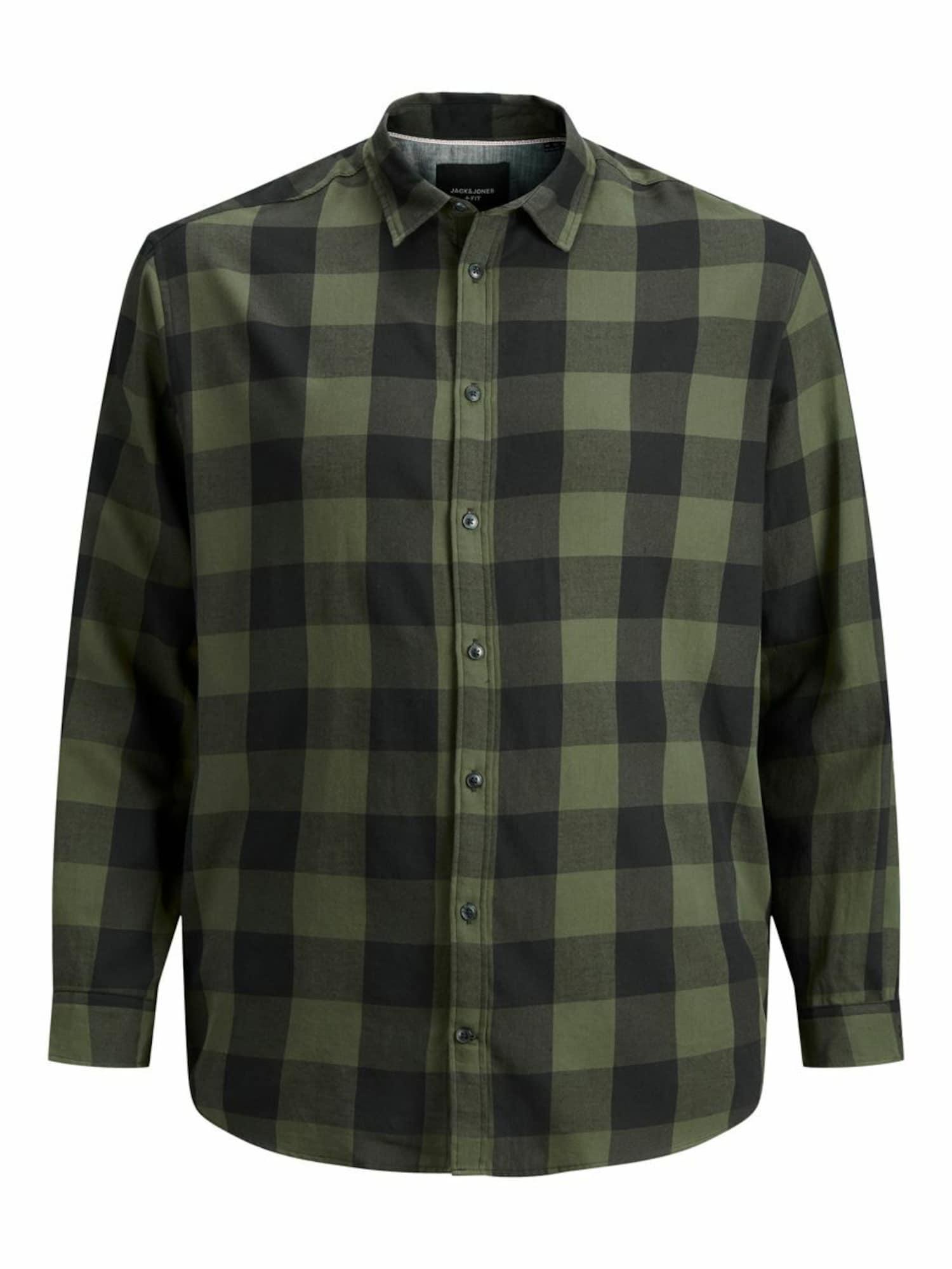 JACK & JONES Marškiniai rusvai žalia / grafito