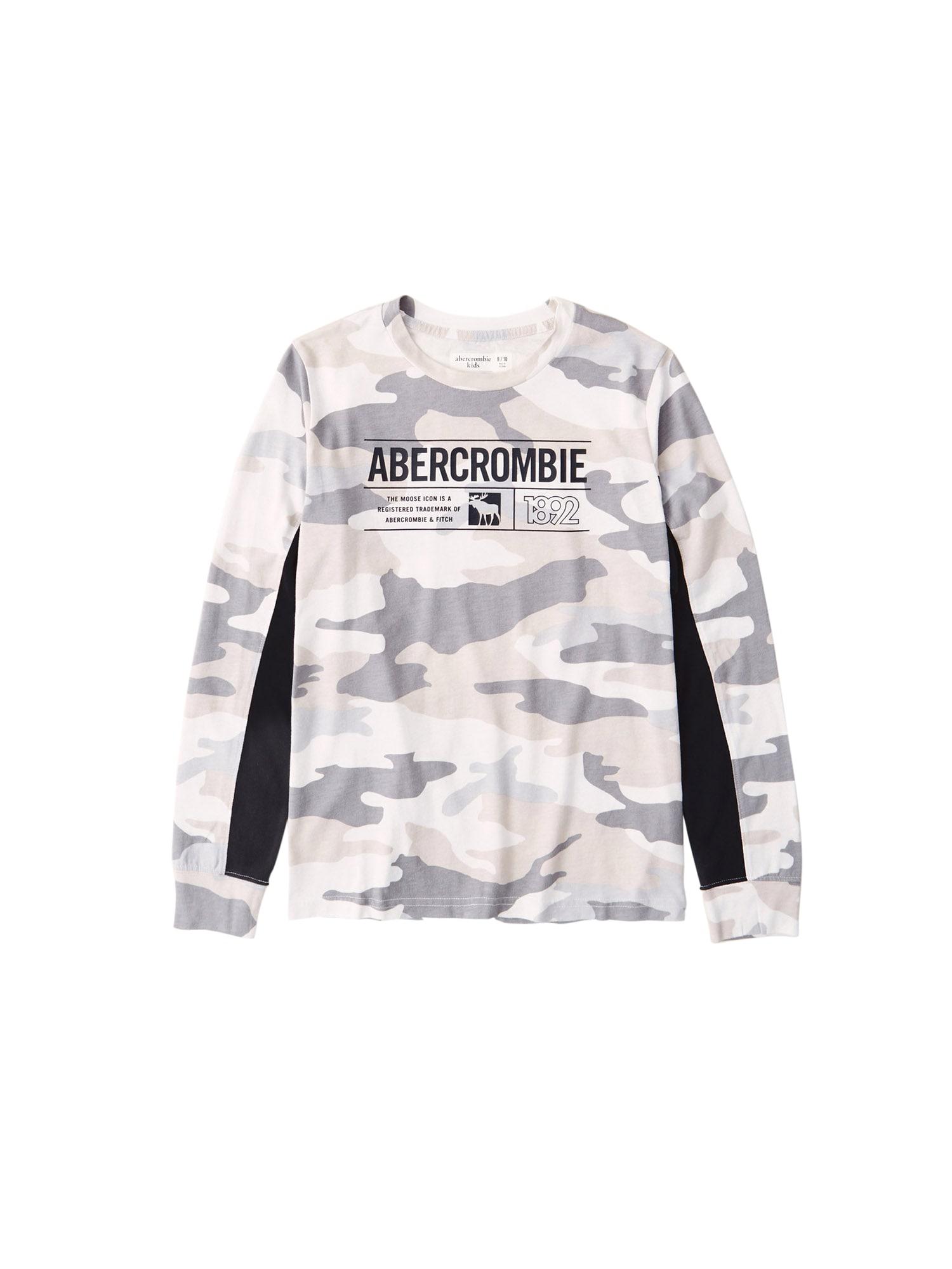 Abercrombie & Fitch Marškinėliai rusvai žalia / pilka / balta