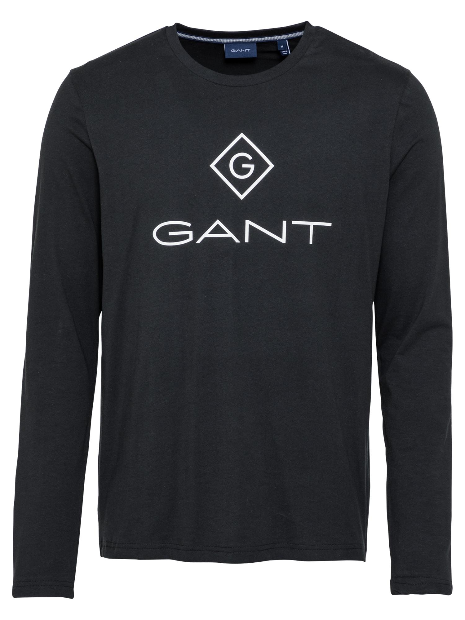 GANT Marškinėliai juoda / balta