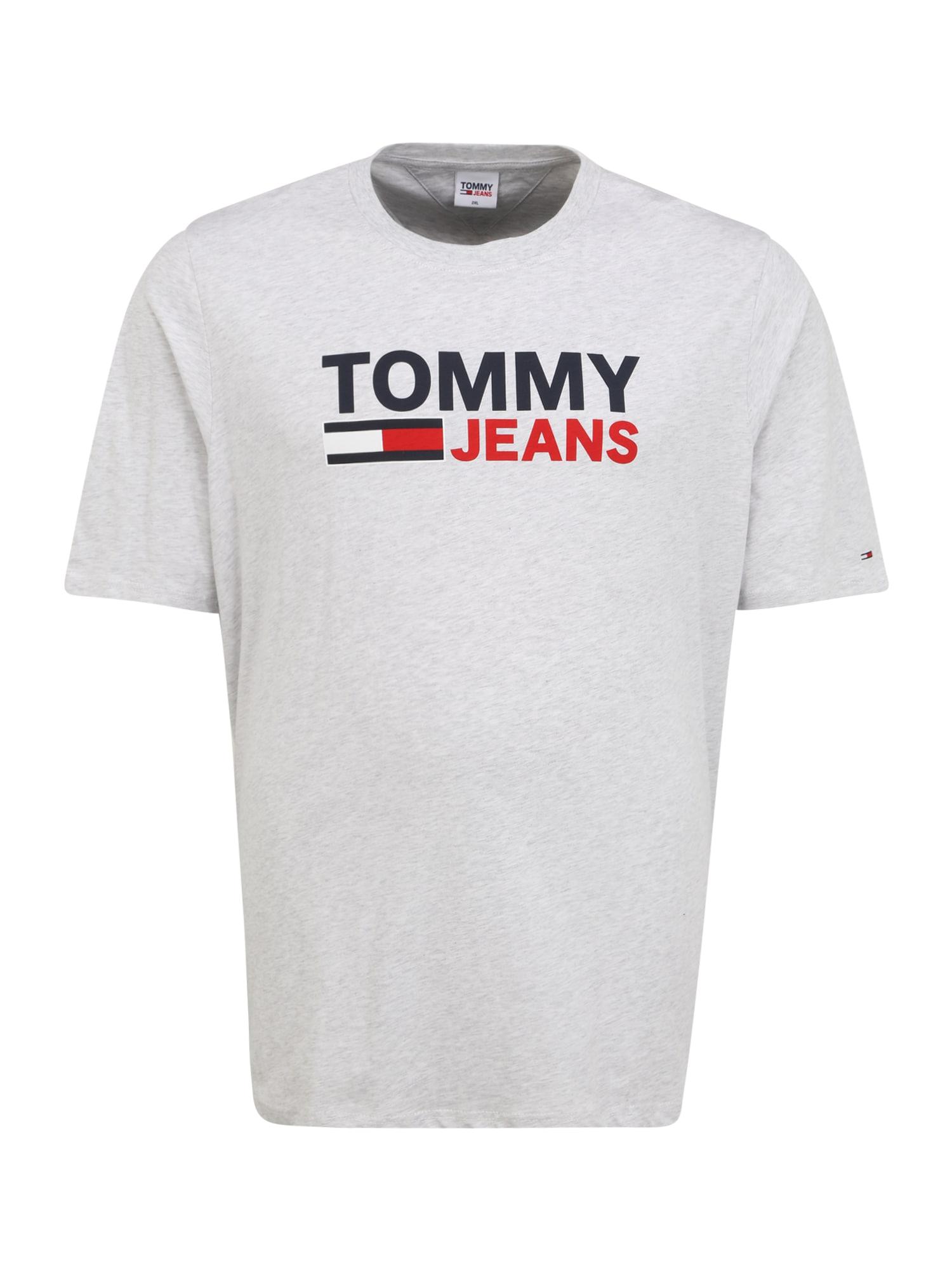 Tommy Jeans Plus Marškinėliai sidabro pilka / raudona / tamsiai mėlyna