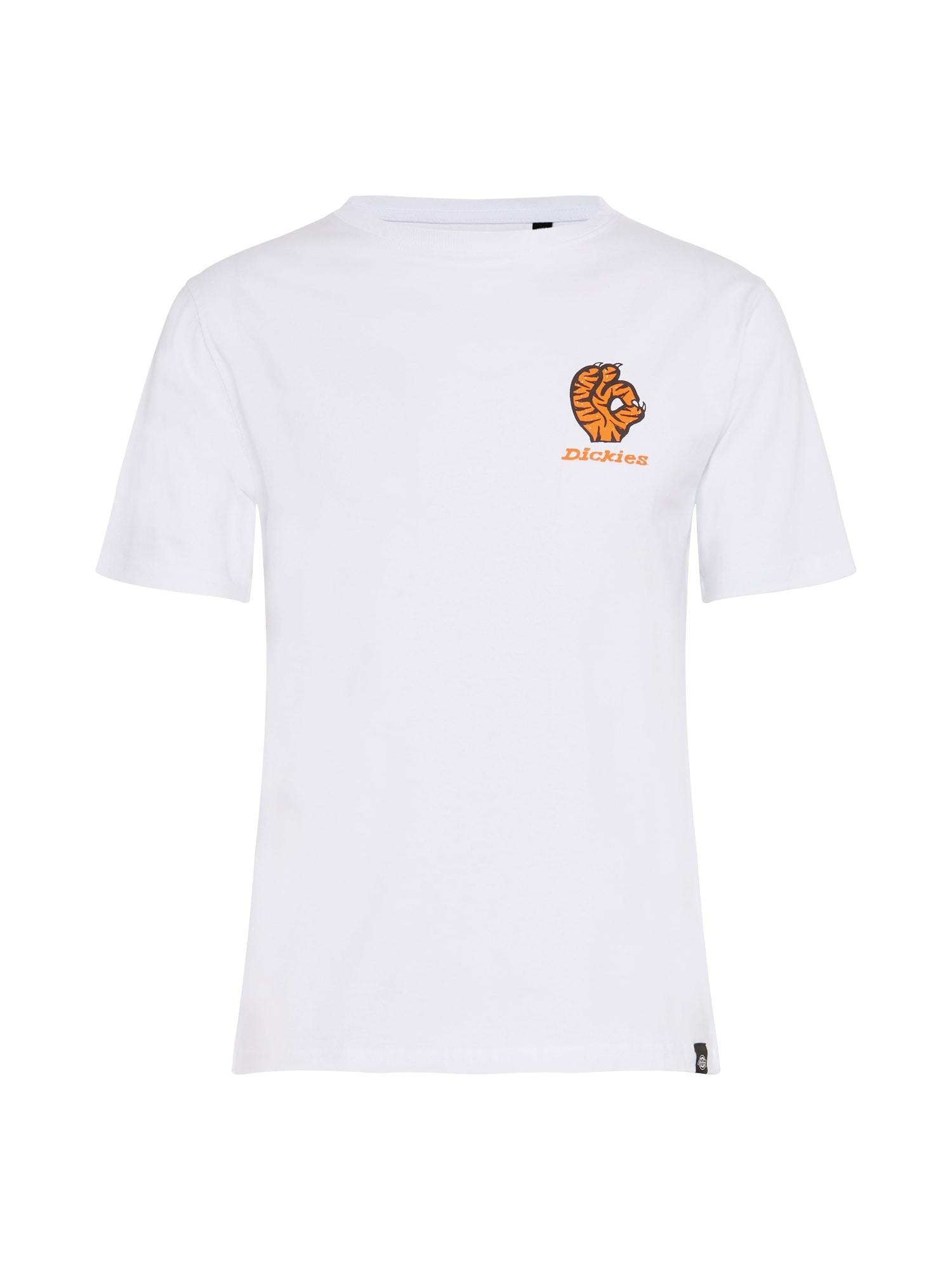 DICKIES Tričko 'Schriever'  bílá / oranžová / černá