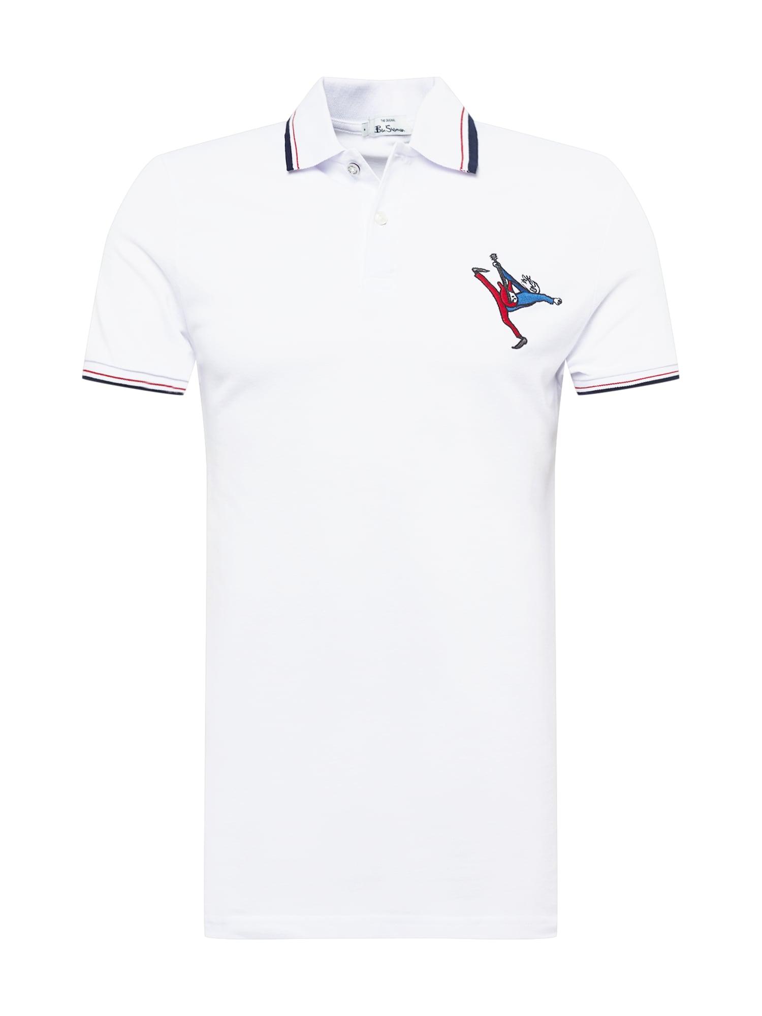 Ben Sherman Marškinėliai balta / mėlyna / raudona