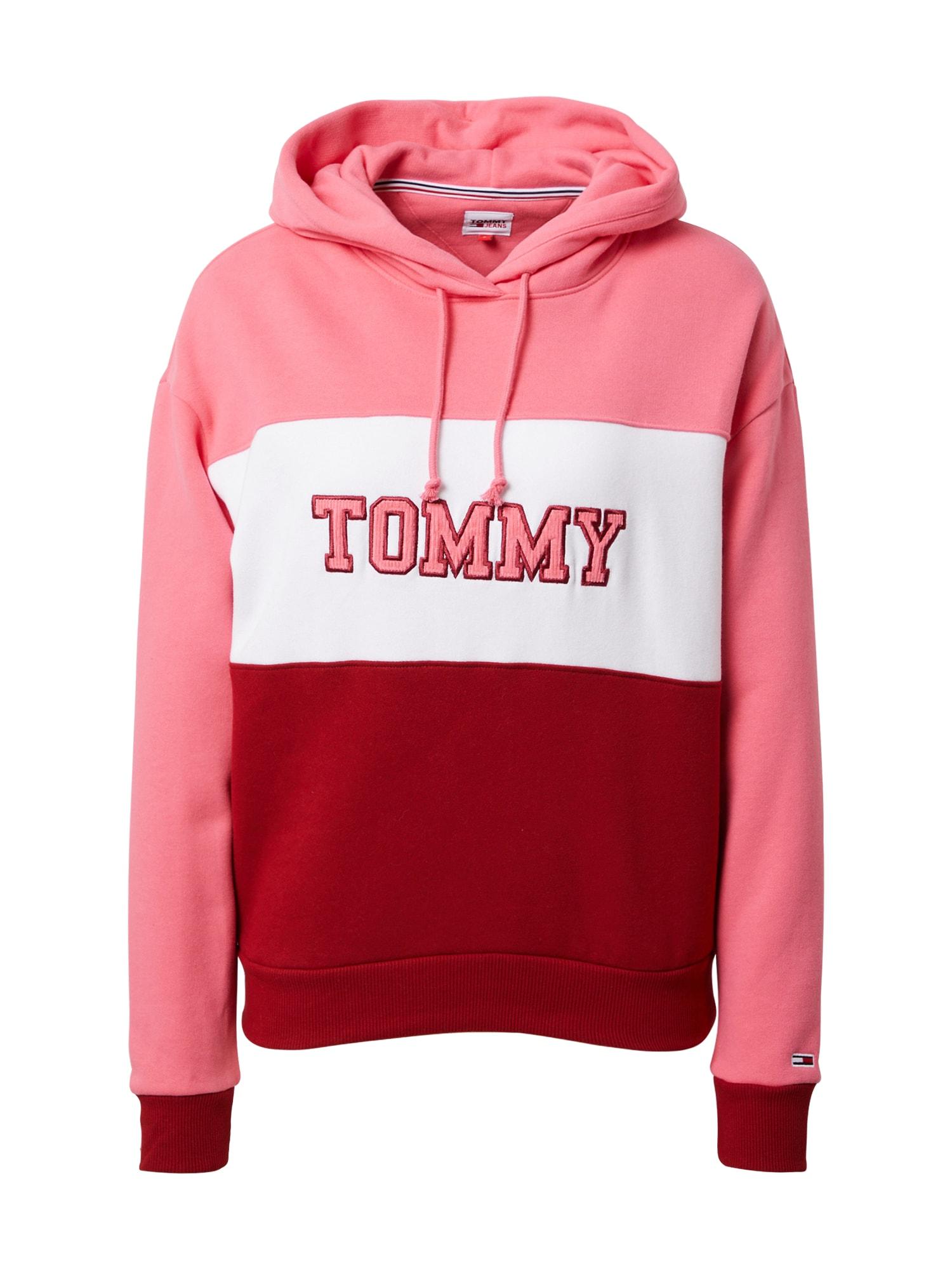 Tommy Jeans Mikina  pink / červená / bílá