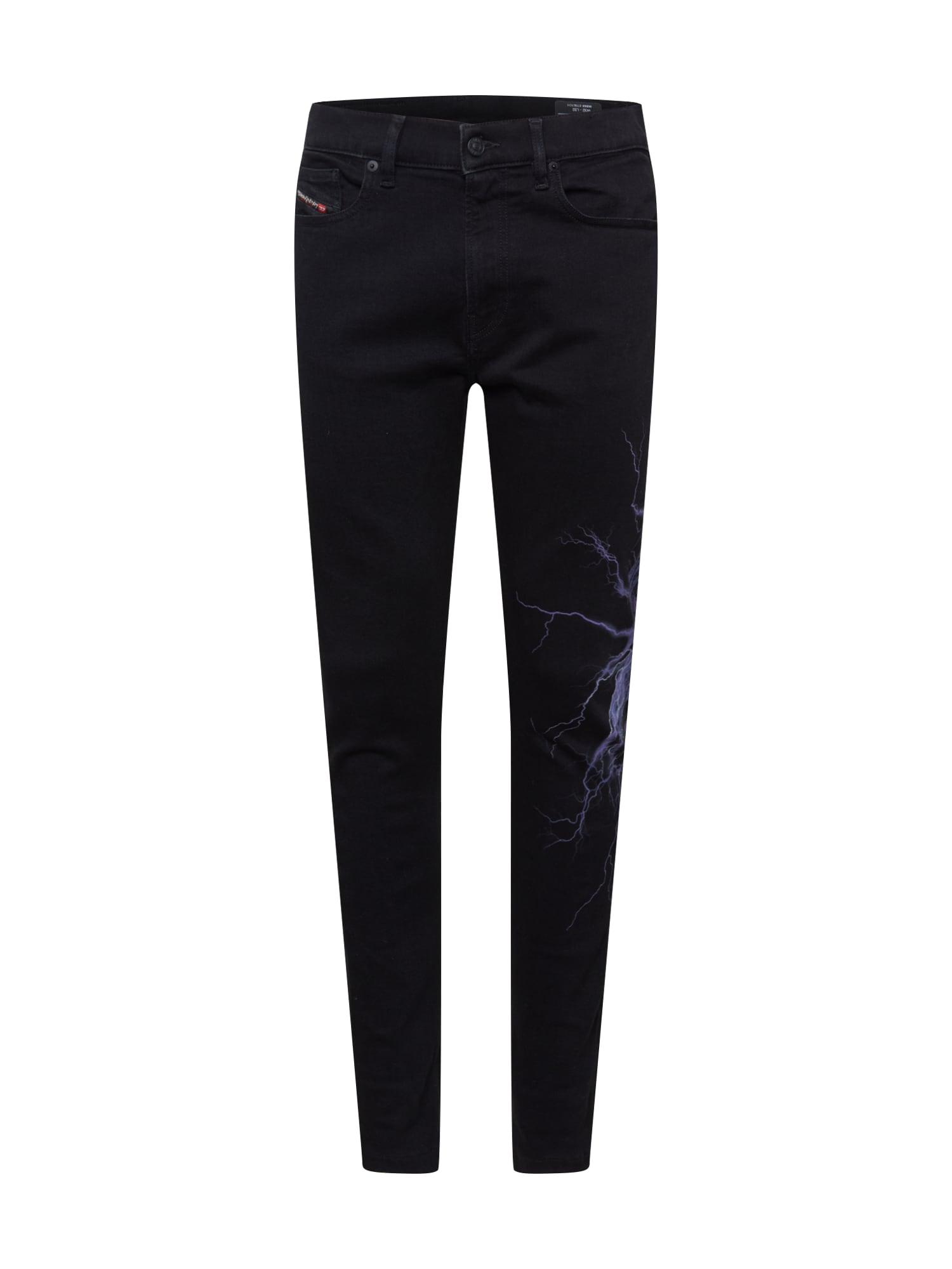 DIESEL Džíny 'D-AMNY-Y-SP'  černá / šeříková / světle fialová