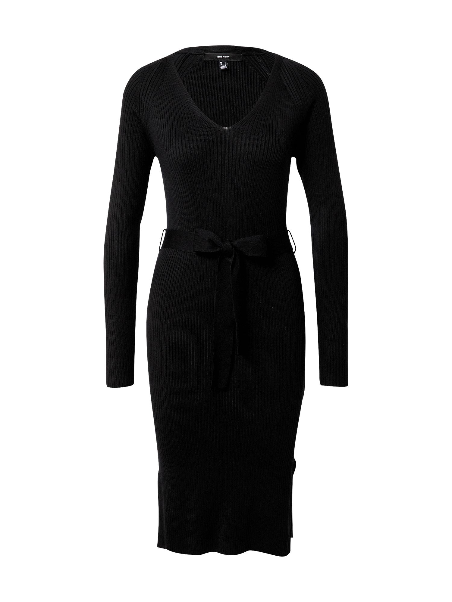 VERO MODA Úpletové šaty 'BARBARA'  černá