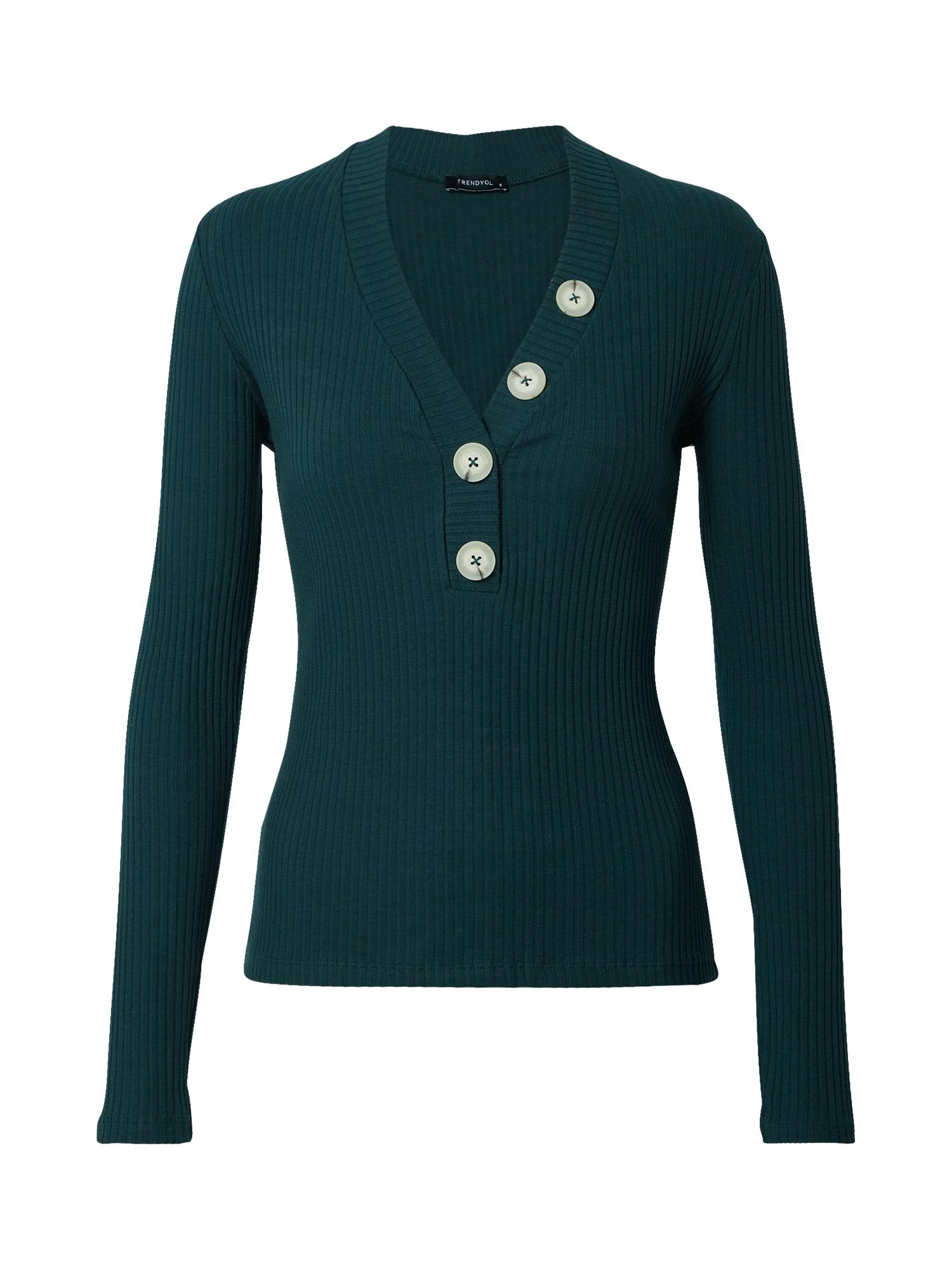 Trendyol Marškinėliai tamsiai žalia