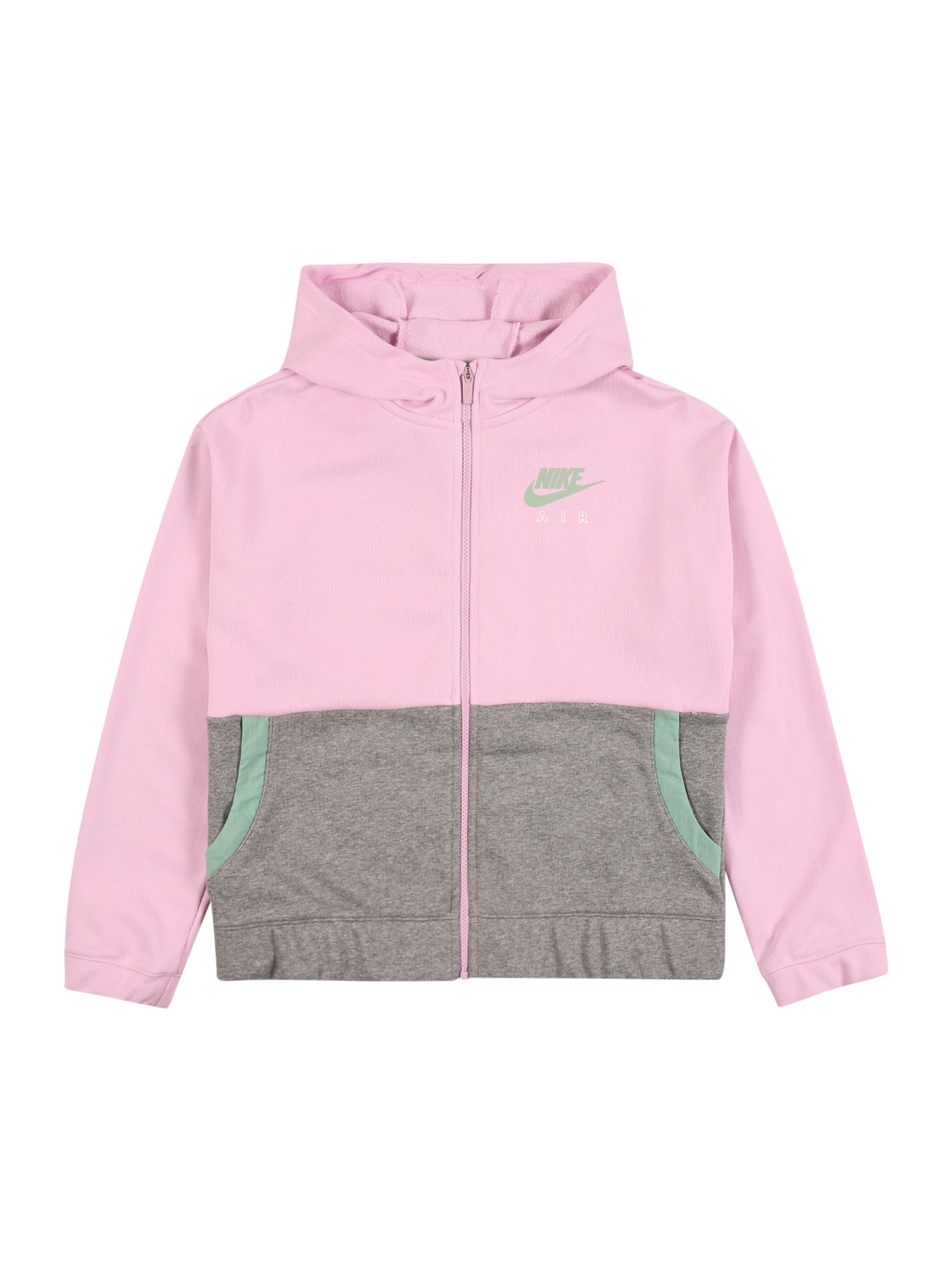 Nike Sportswear Tepláková bunda 'Air'  sivá / mätová / ružová