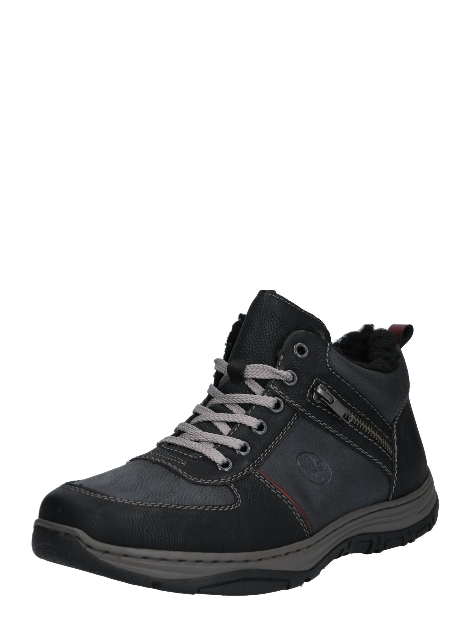RIEKER Auliniai batai su raišteliais pilka / juoda