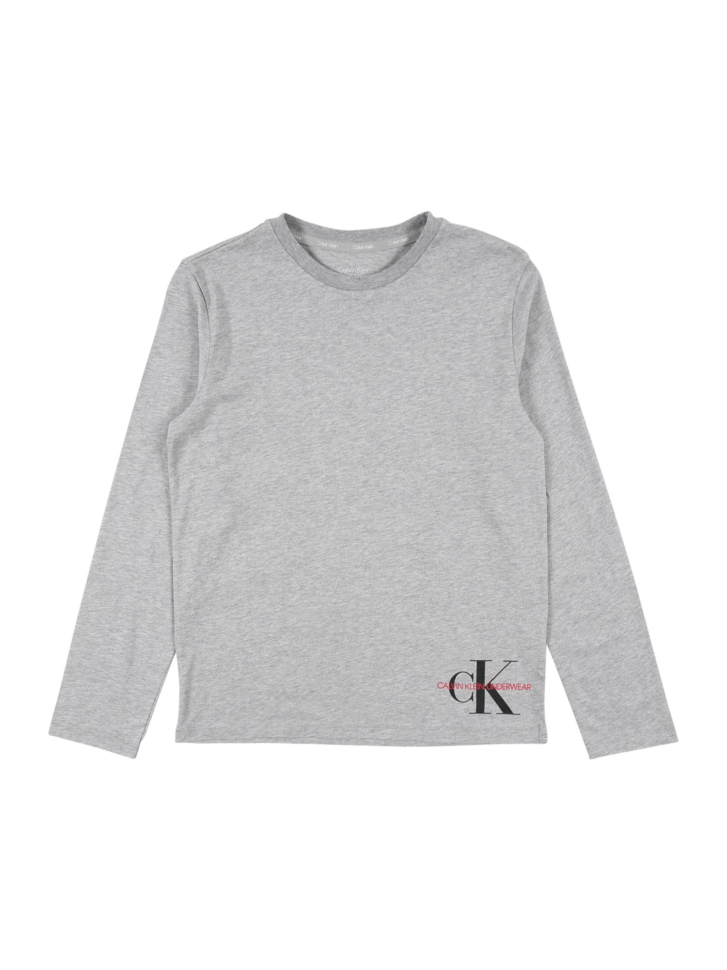 Calvin Klein Underwear Marškinėliai pilka / juoda / šviesiai raudona