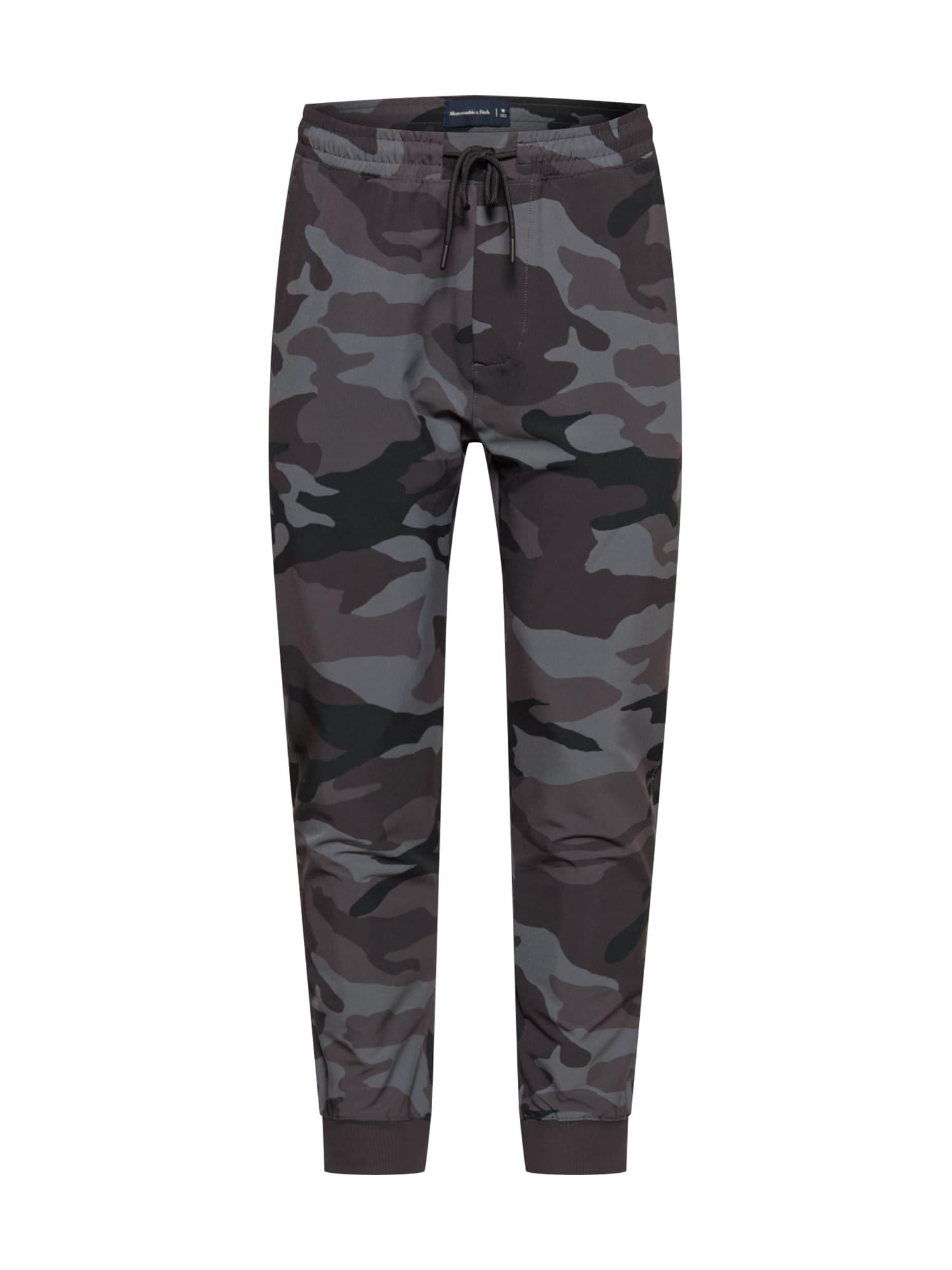 Abercrombie & Fitch Kelnės juoda / pilka / ruda / tamsiai ruda