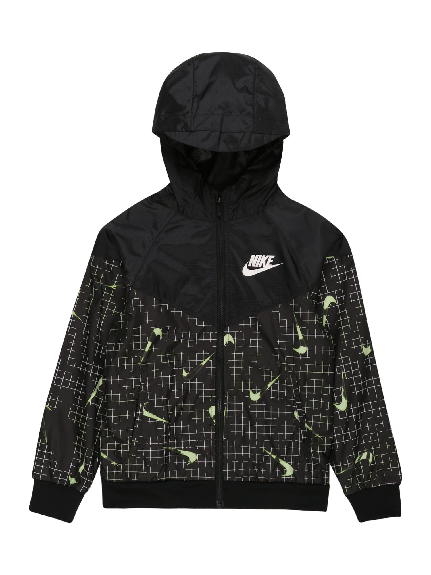 Nike Sportswear Demisezoninė striukė juoda / neoninė žalia / balta