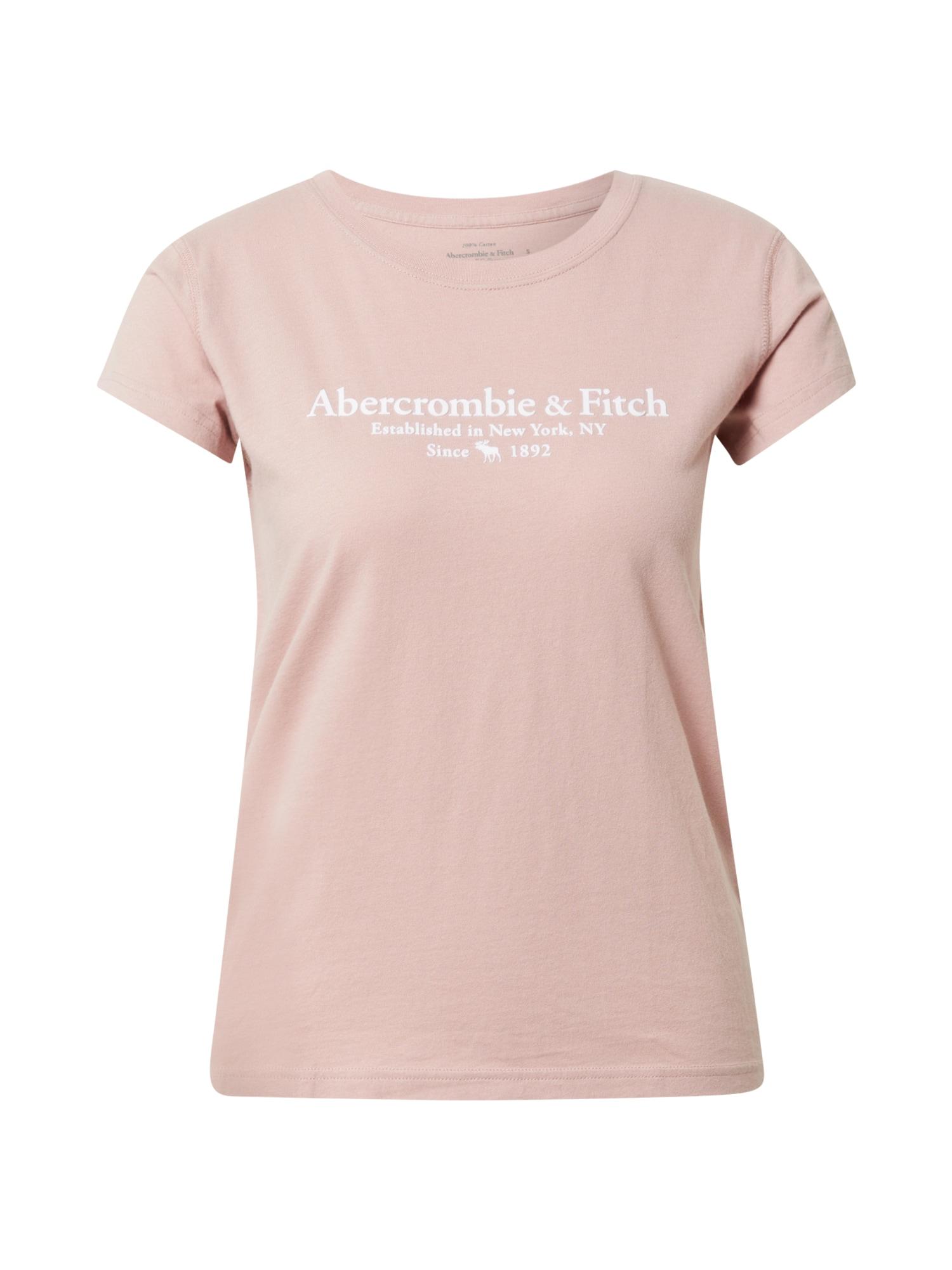 Abercrombie & Fitch Marškinėliai rožinė / balta