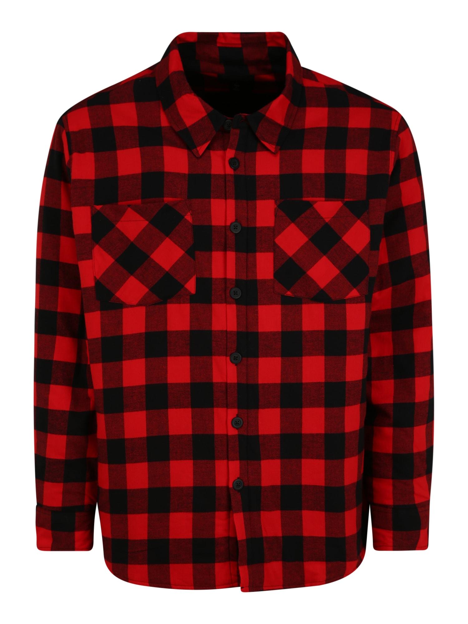 Urban Classics Plus Size Marškiniai raudona / juoda