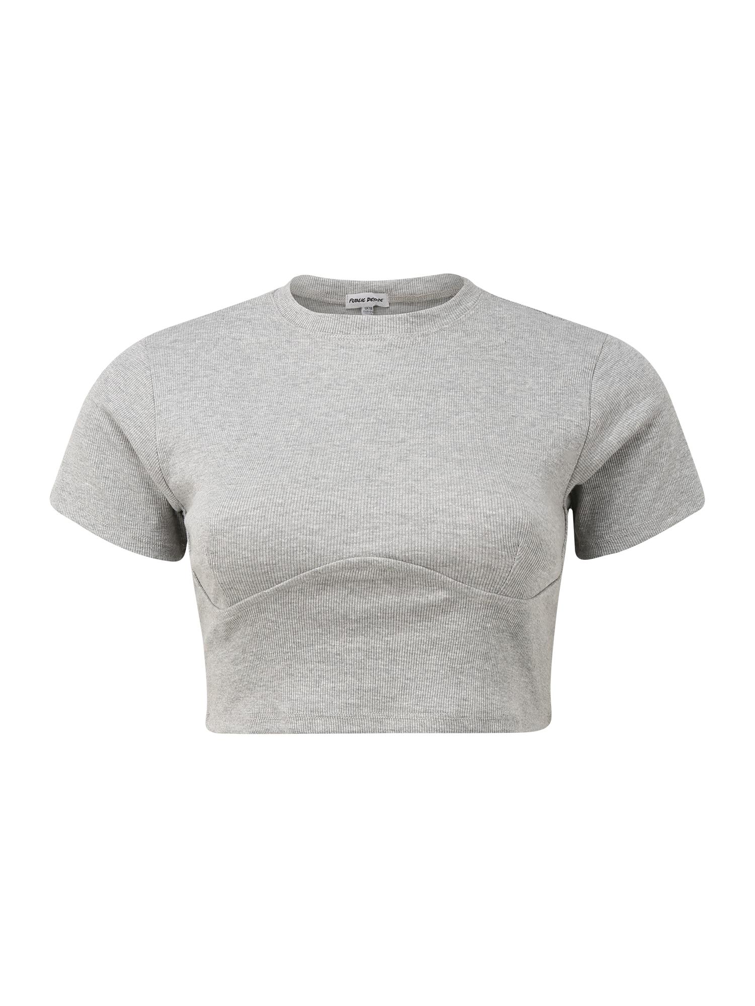Public Desire Curve Marškinėliai margai pilka / balta / juoda