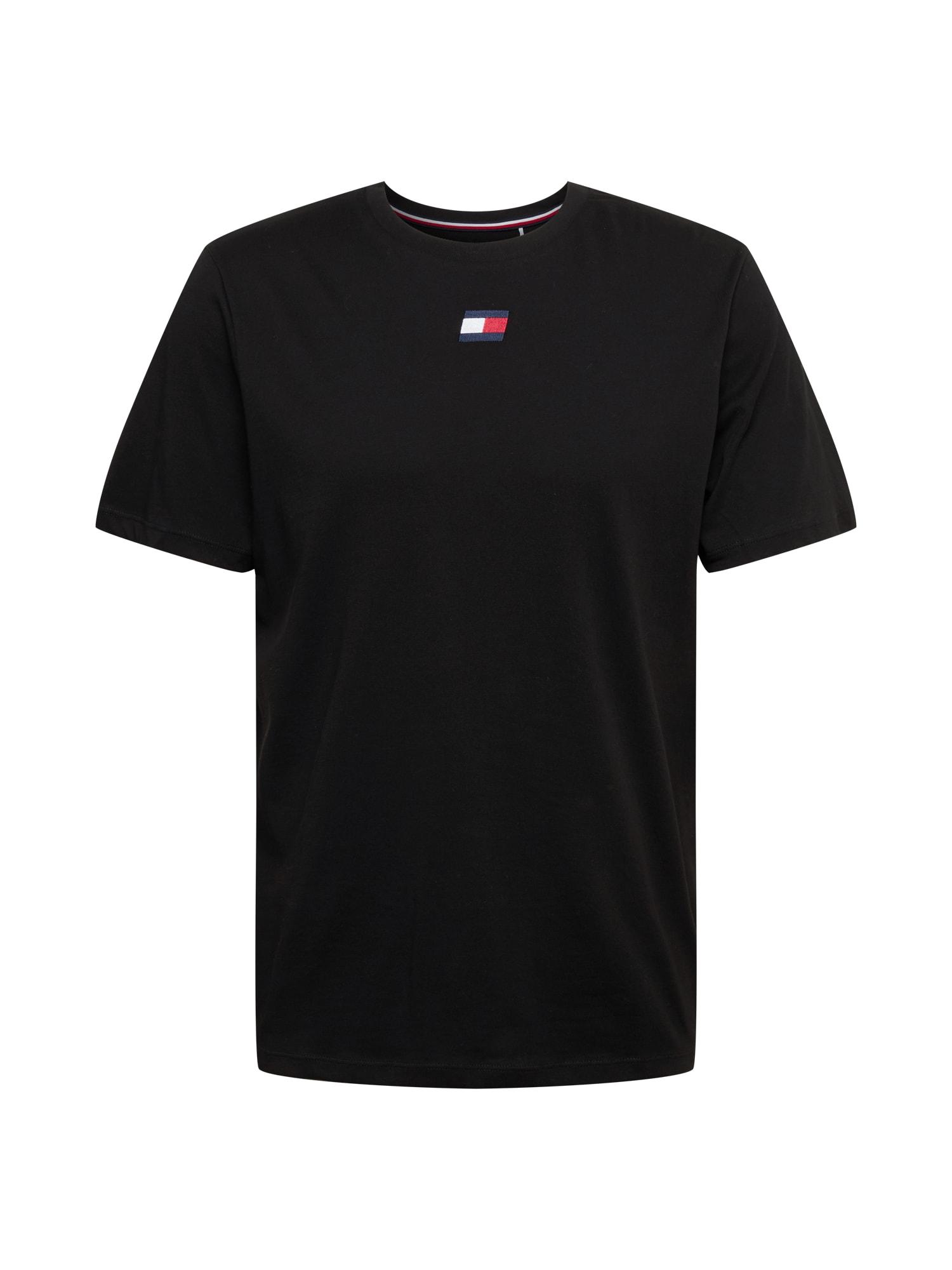 Tommy Sport Sportiniai marškinėliai juoda / mėlyna / balta / raudona