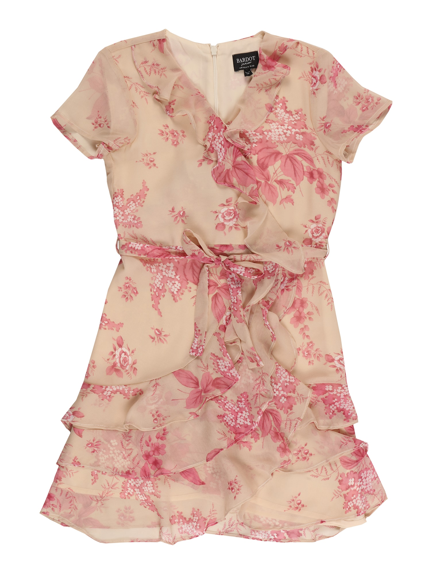 Bardot Junior Suknelė nebalintos drobės spalva / ryškiai rožinė spalva / balta