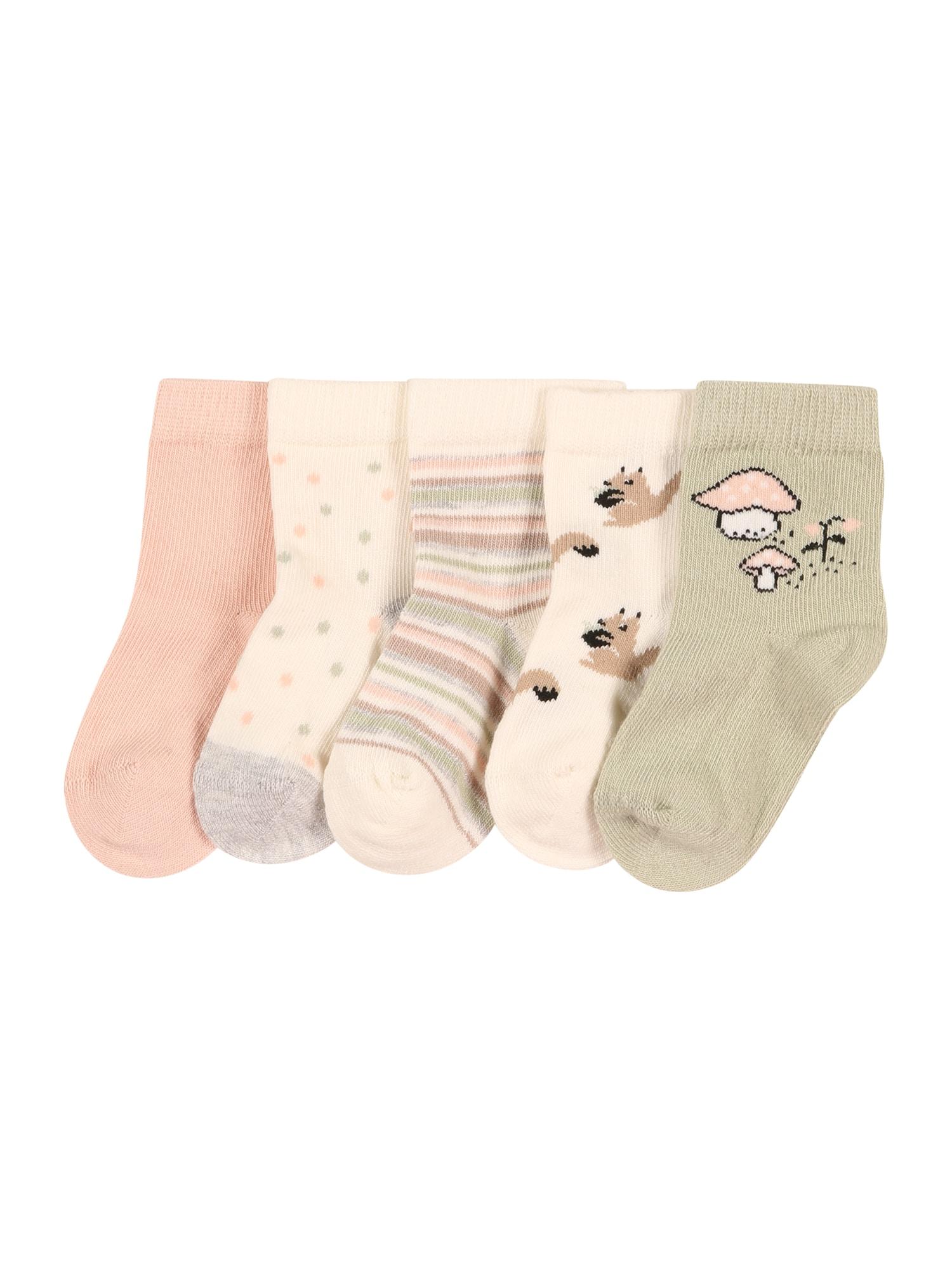 NAME IT Ponožky 'KINI'  barva bílé vlny / růžová / pastelově zelená