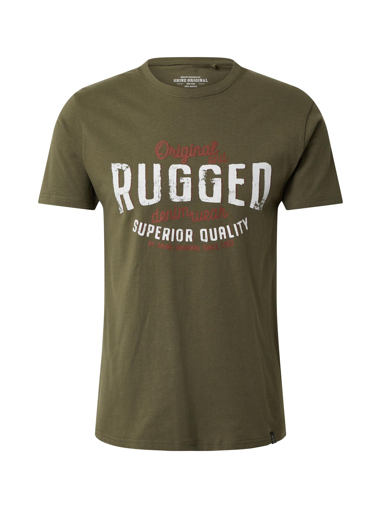 SHINE ORIGINAL Marškinėliai alyvuogių spalva / balta / raudona